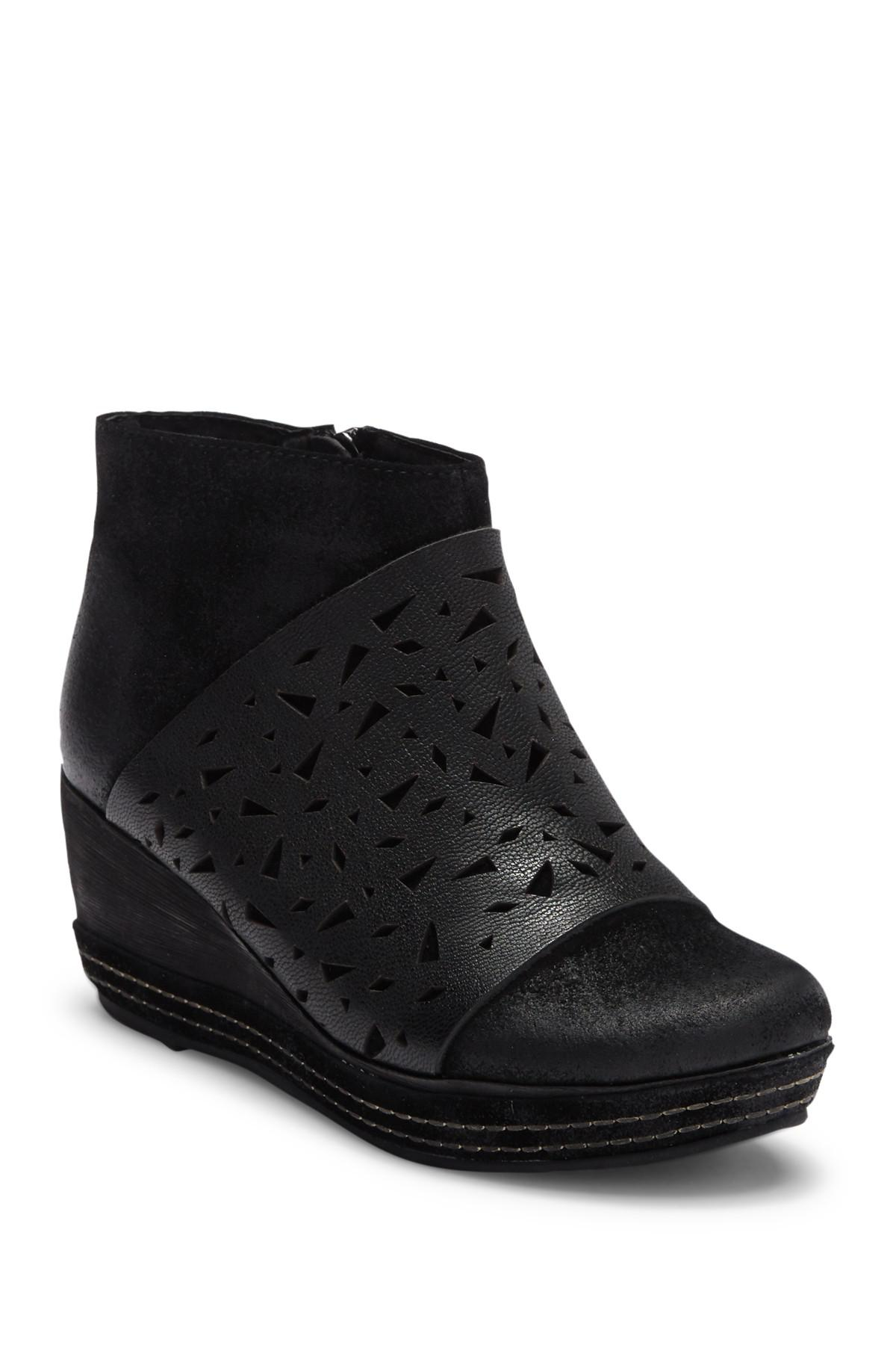 156bdb09dae6 Lyst - Antelope Lasercut Leather Wedge Bootie in Black