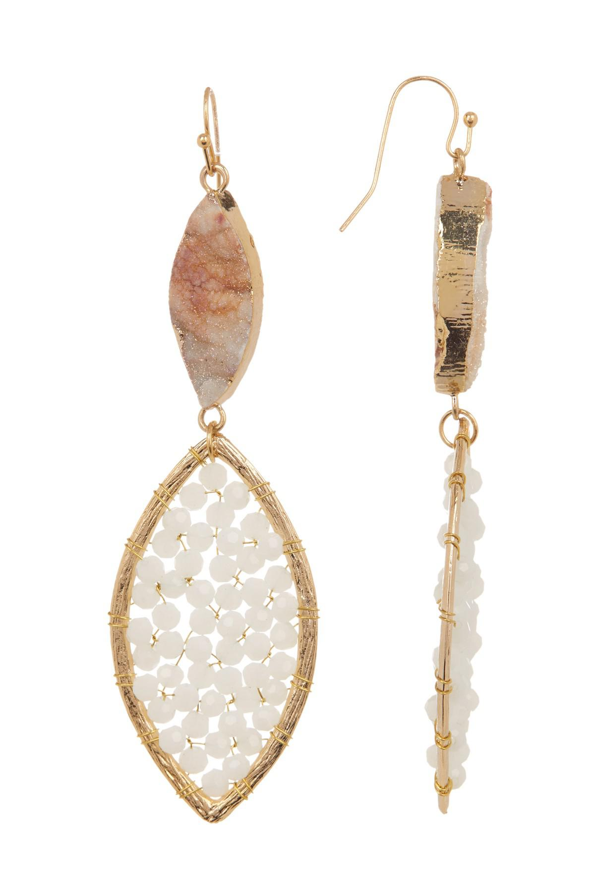 Panacea Druzy Beaded Drop Earrings, White