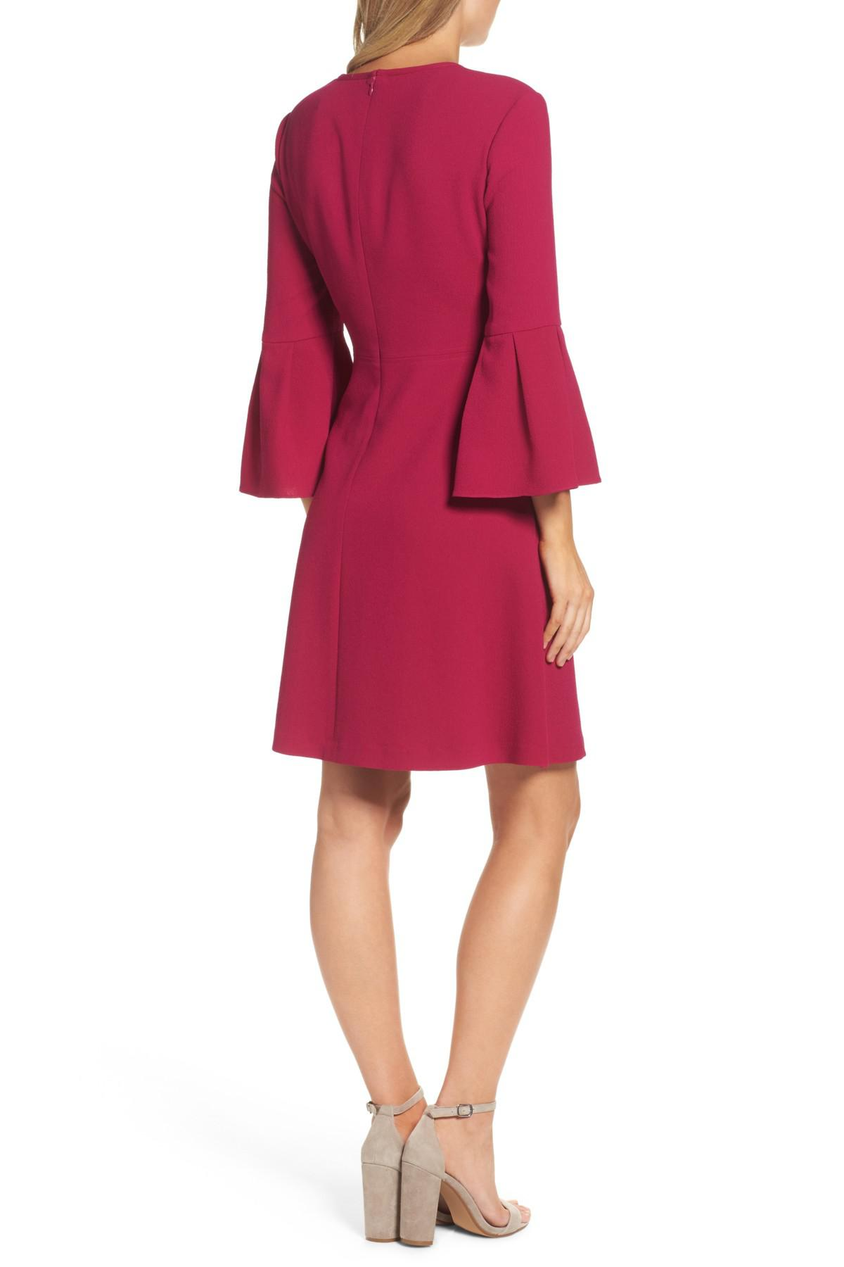 Eliza J Bell Sleeve Fit Amp Flare Dress In Red Lyst