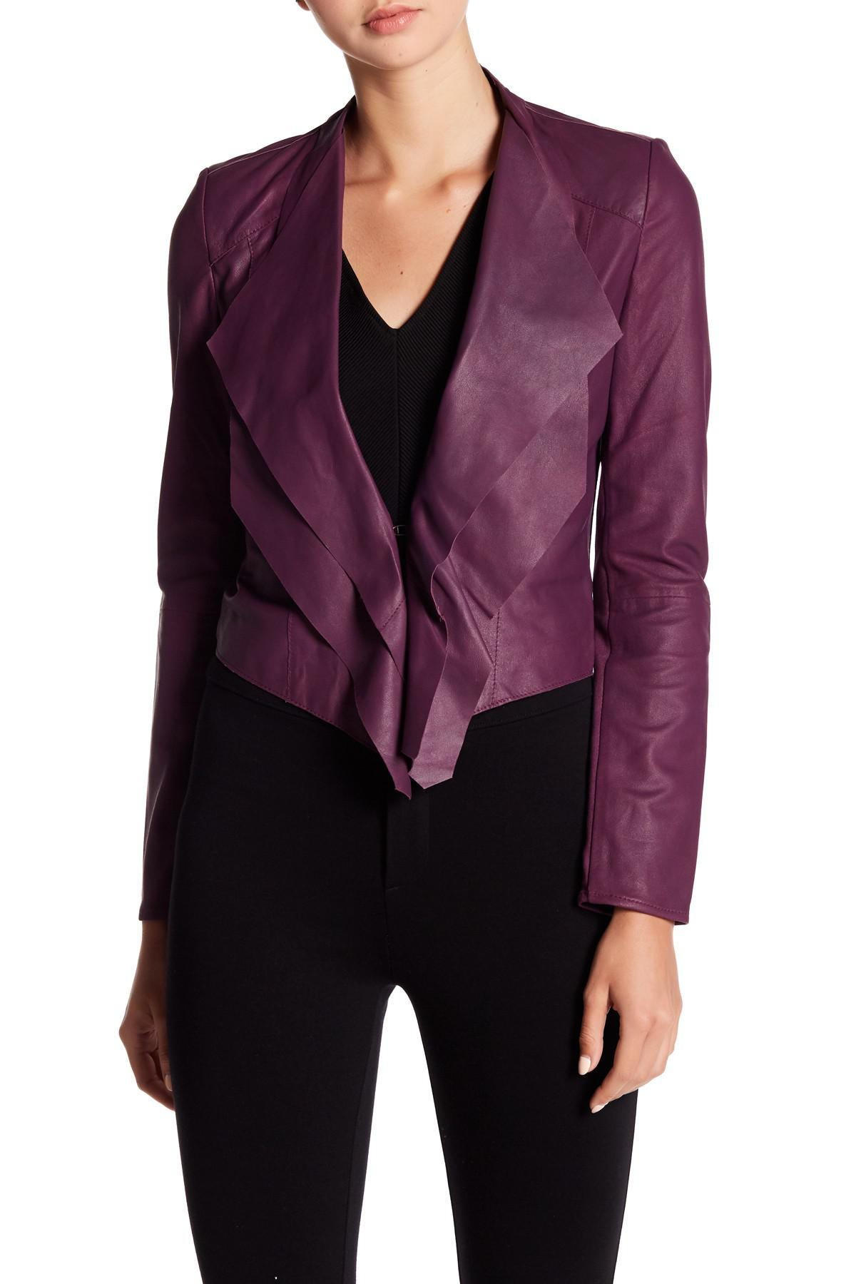 Lamarque Cascade Leather Jacket In Purple Lyst