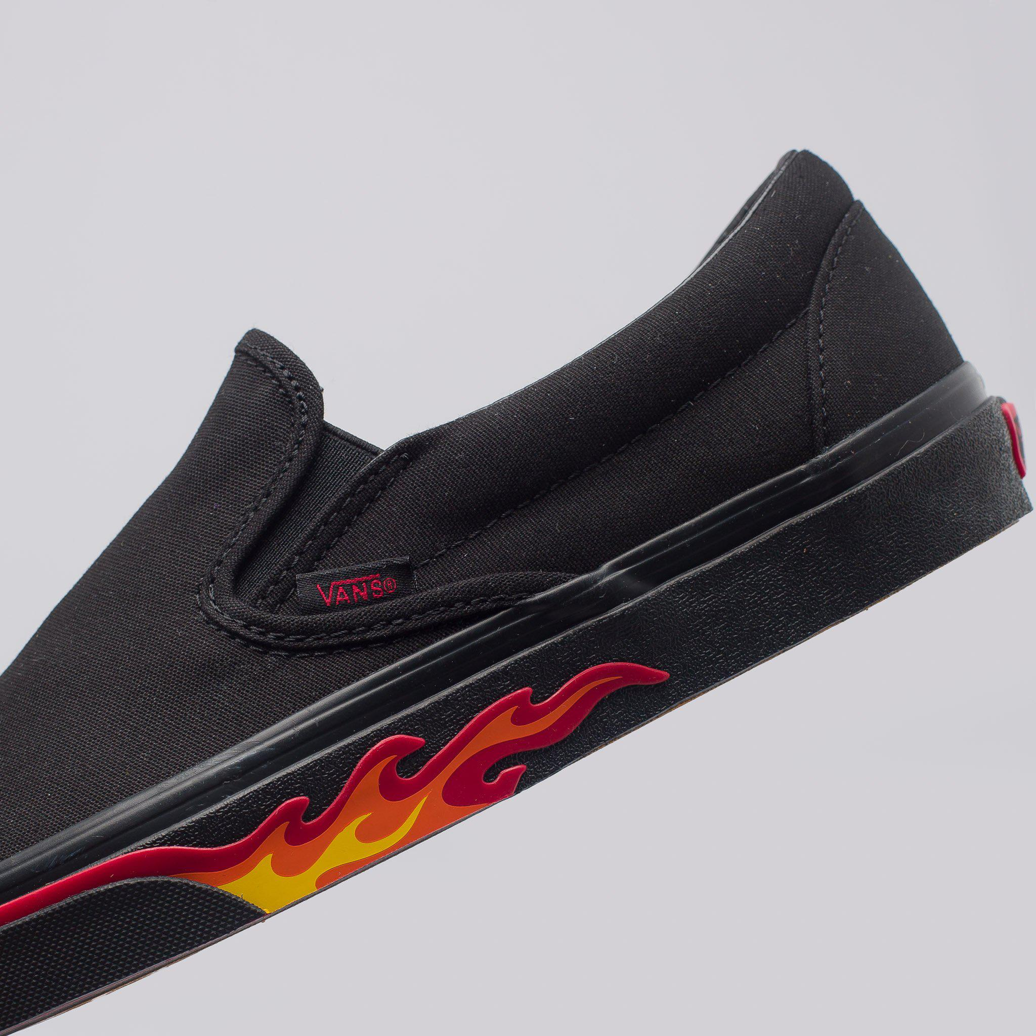 ce3ec317b3f69a Lyst - Vans Classic Slip-on Flame Wall In Black in Black for Men