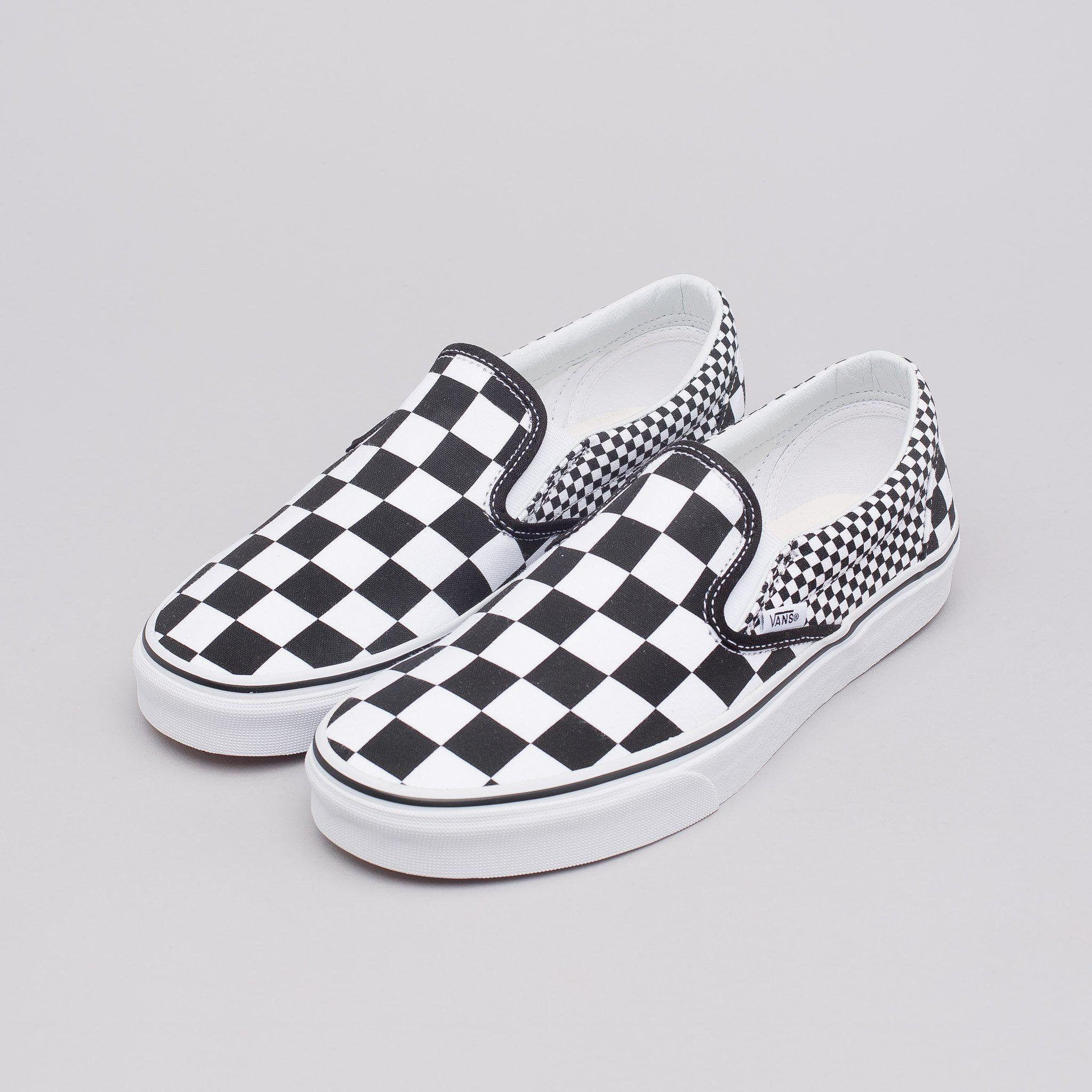 vans classic slip on checkerboard mix