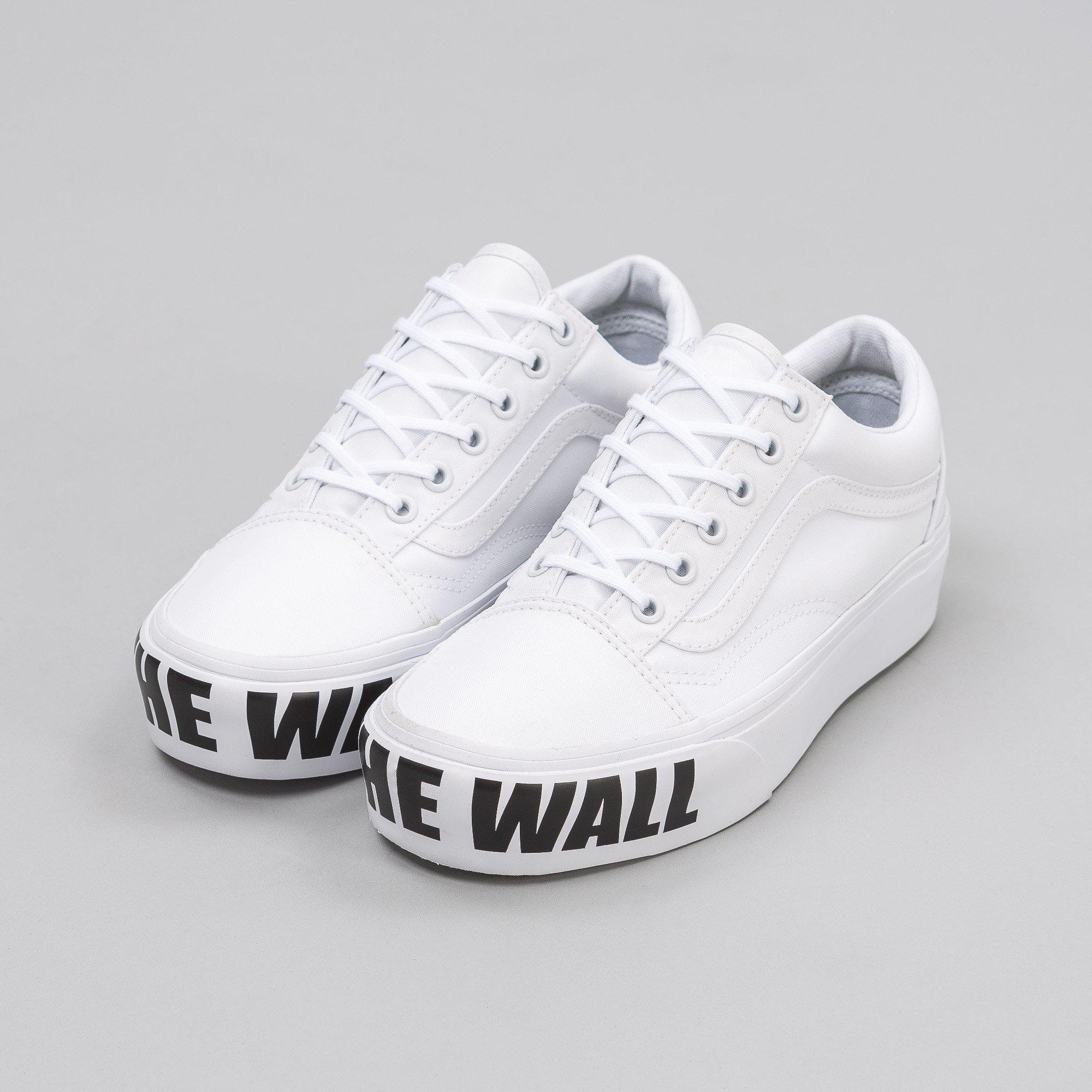 Men's White Old Skool Platform Off The Wall