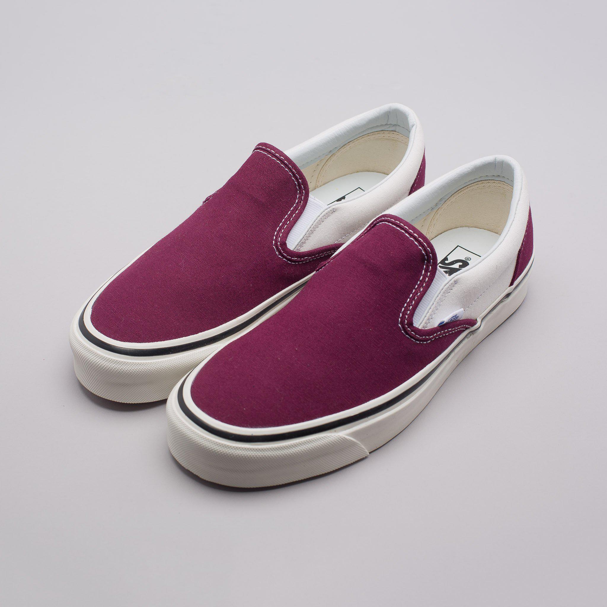 vans burgundy slip on shoes