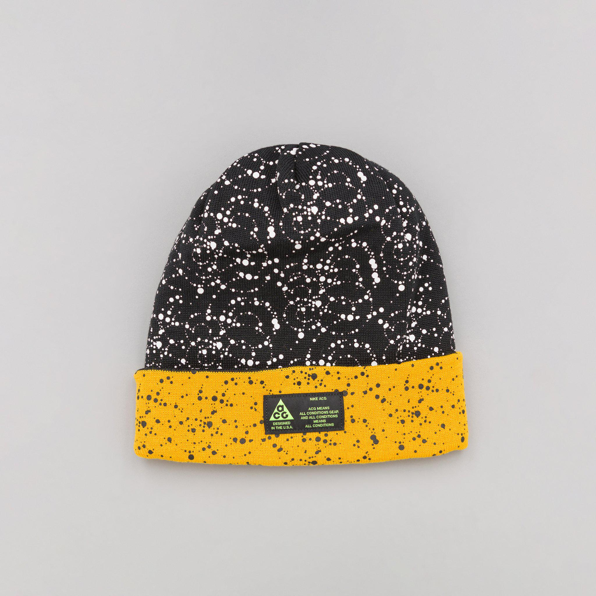 new styles ccf99 4128d Nike Acg Beanie A14 In Black yellow Ochre in Yellow for Men - Lyst