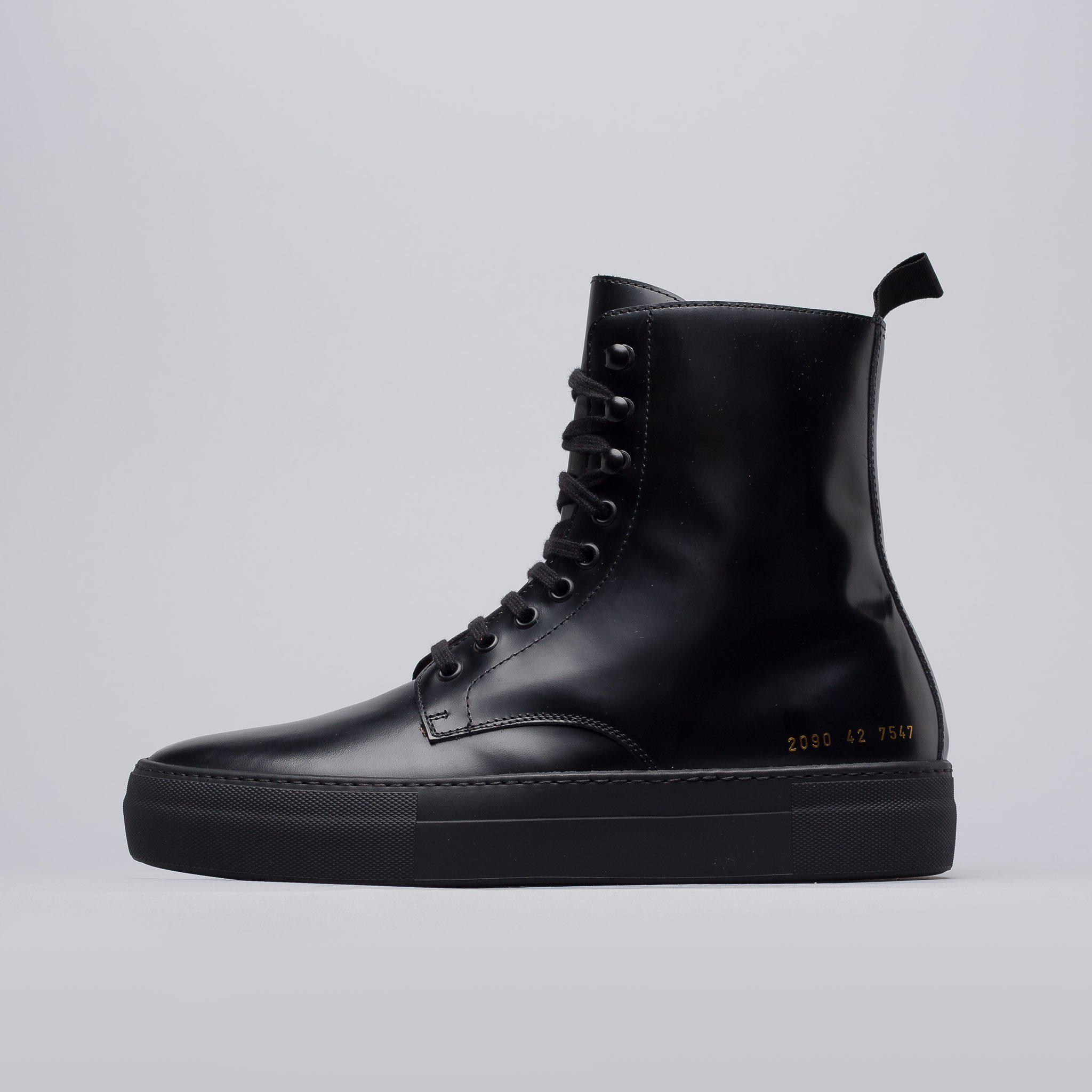 4bf32de968d3d Lyst - Robert Geller X Common Projects Combat Boots In Black in ...