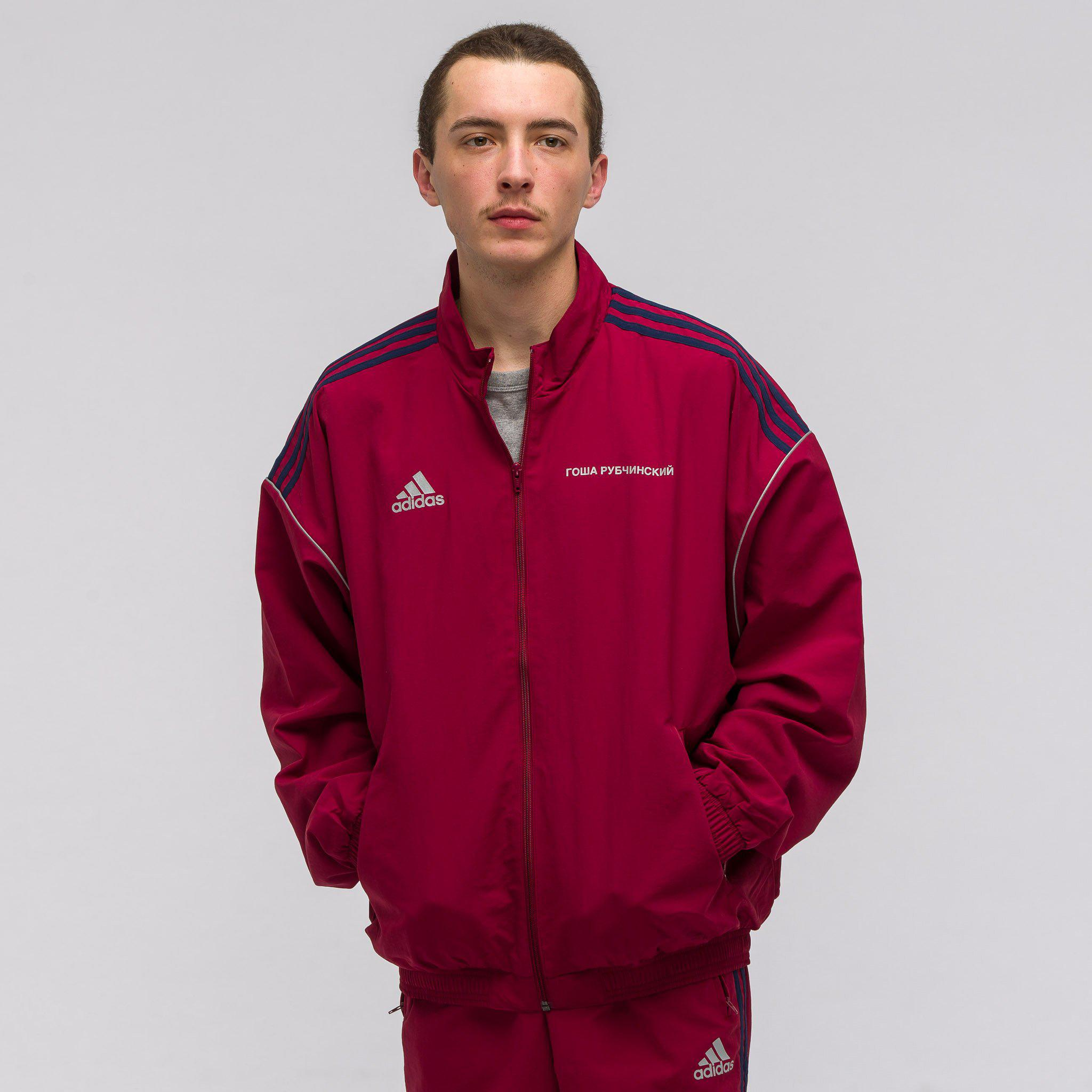 Men's Red X Adidas Track Jacket In Burgundy