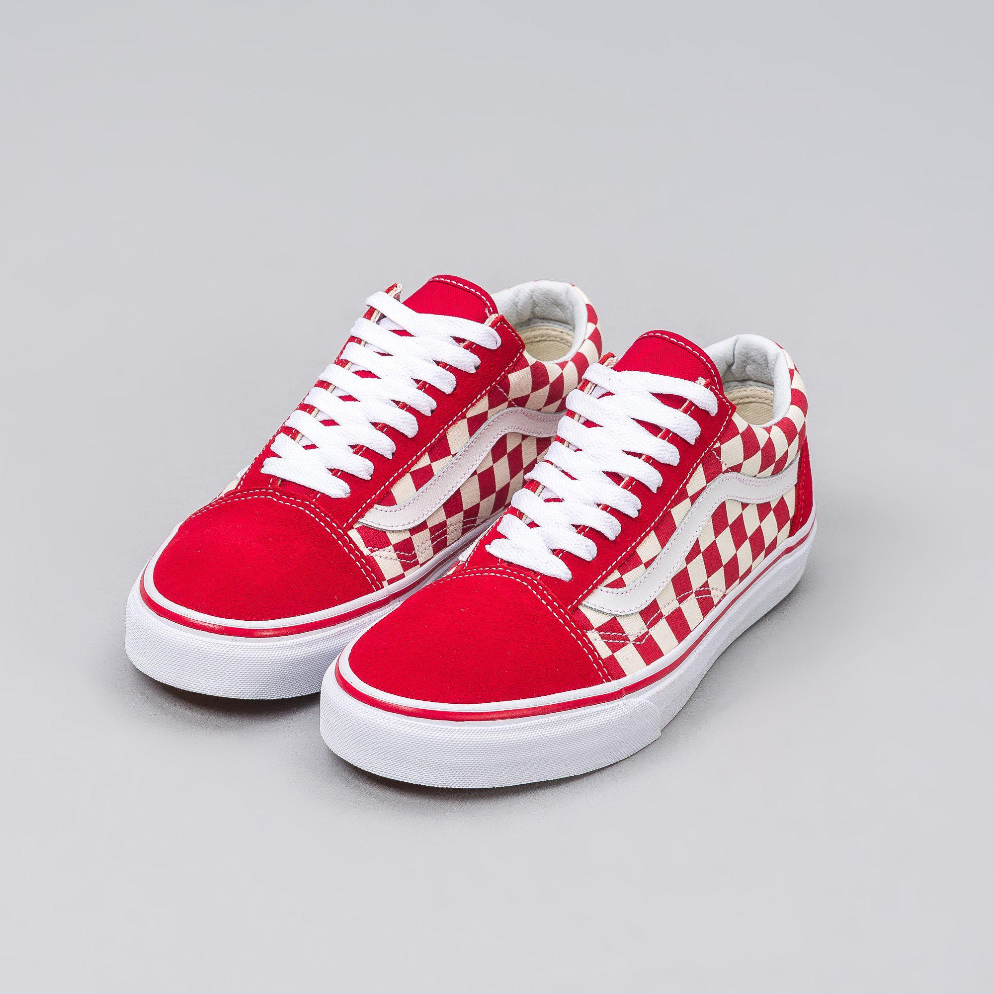 red and white checkered vans old skool