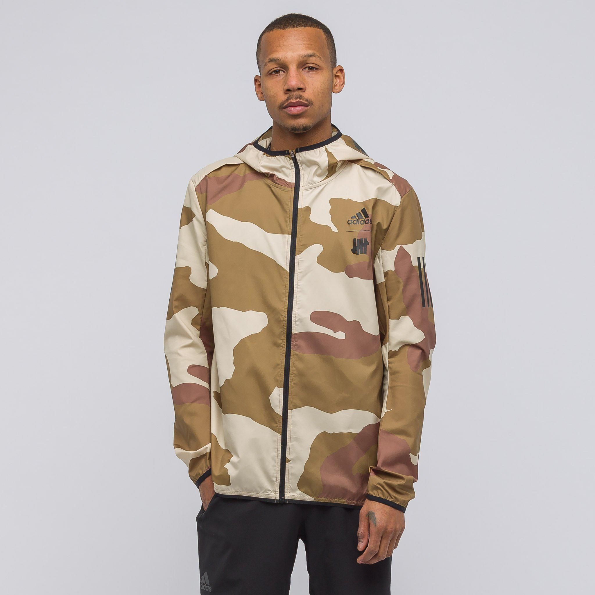 adidas X Undefeated Response Hooded Wind Jacket In Dune Camo