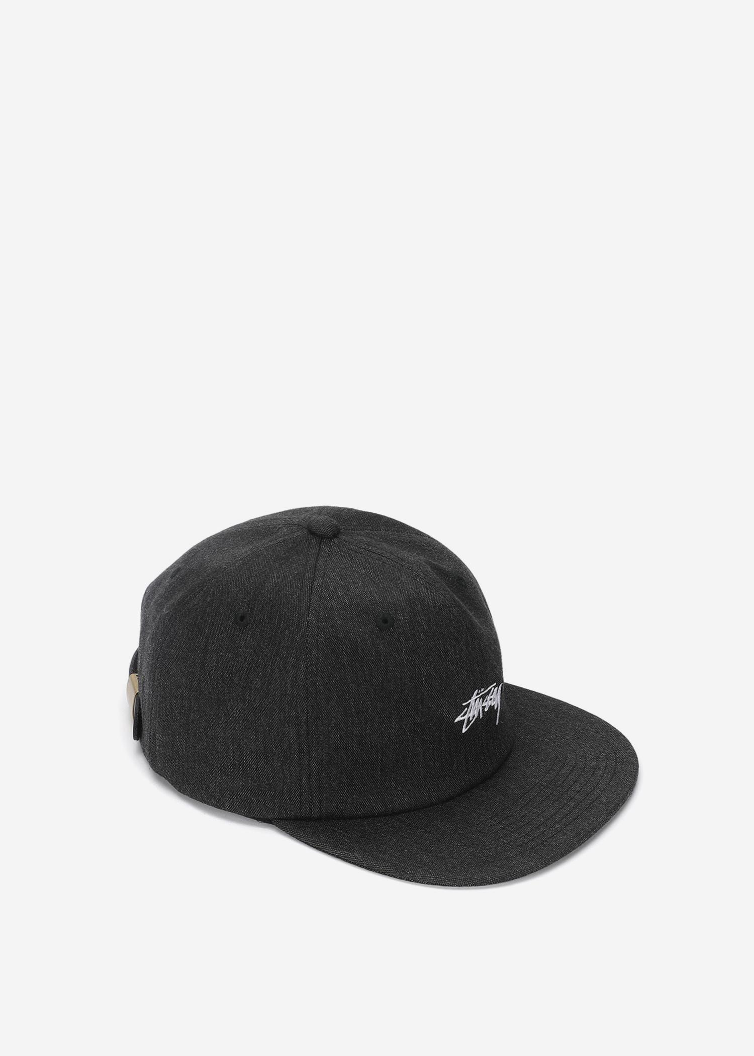 0b4bfbd5a3d Stussy - Black Melange Denim Strapback Cap for Men - Lyst. View fullscreen