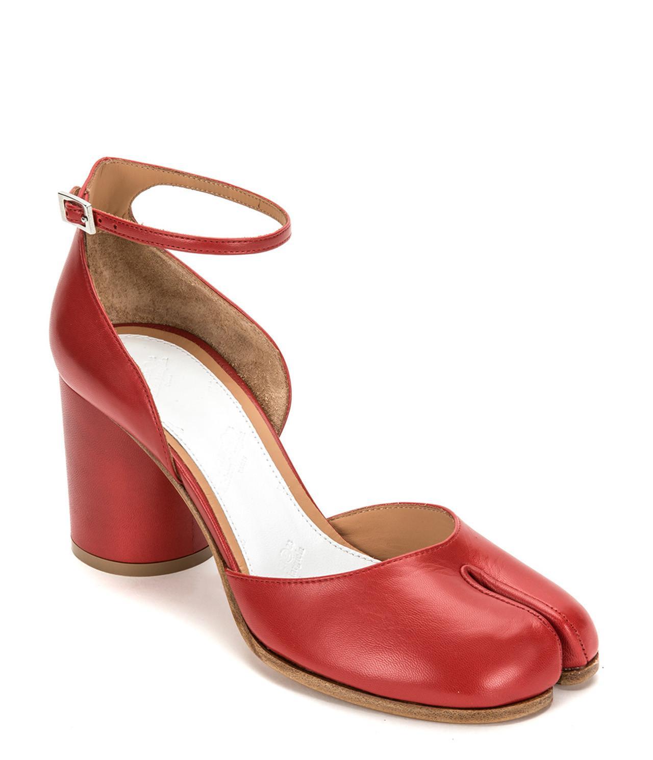 84f27585c2ed Maison Margiela - Red Tabi Leather Ankle-strap Pump - Lyst. View fullscreen