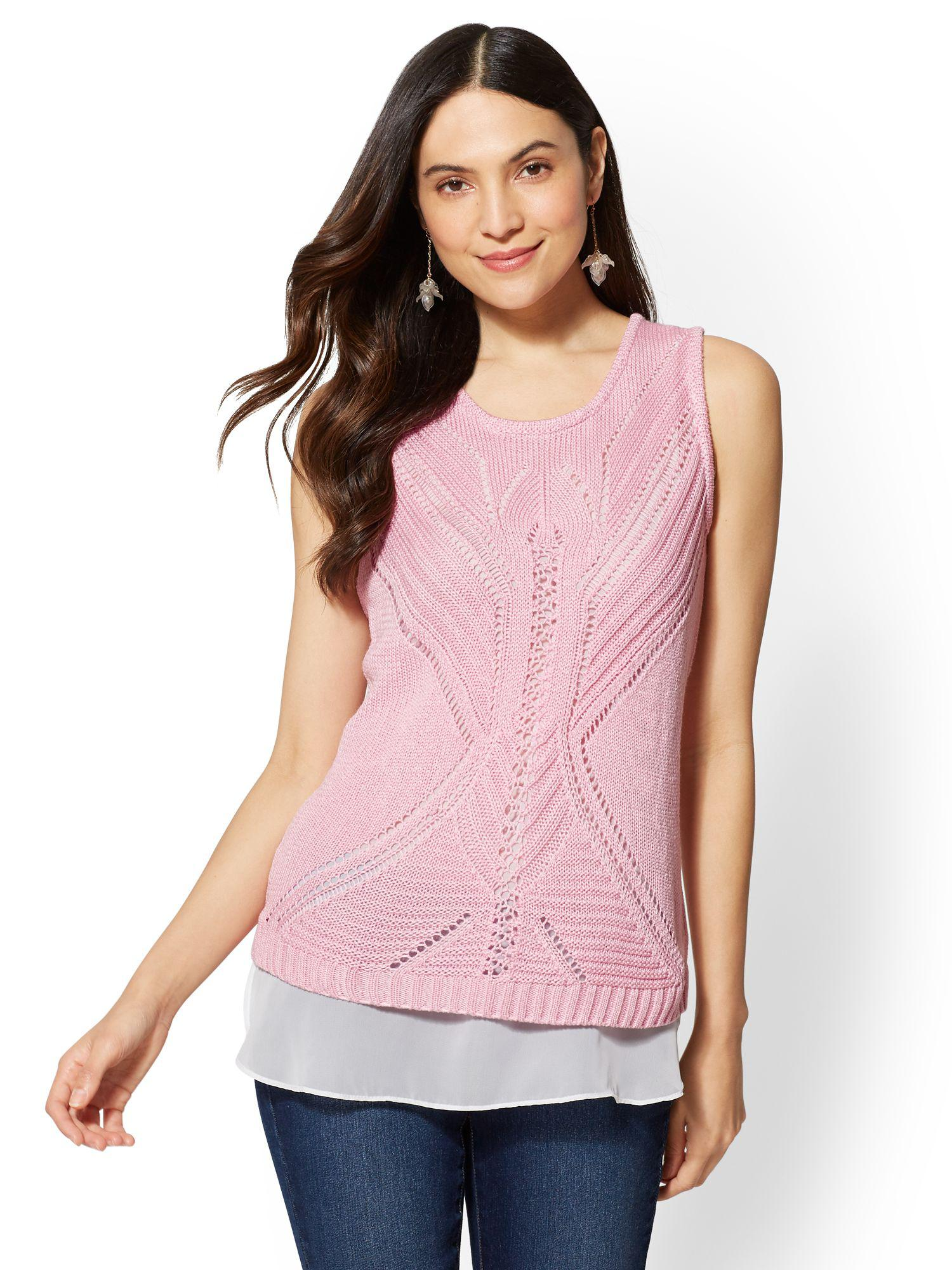 a29817fbbdb0 New York & Company Pointelle-knit Twofer Sweater Top in Pink - Lyst