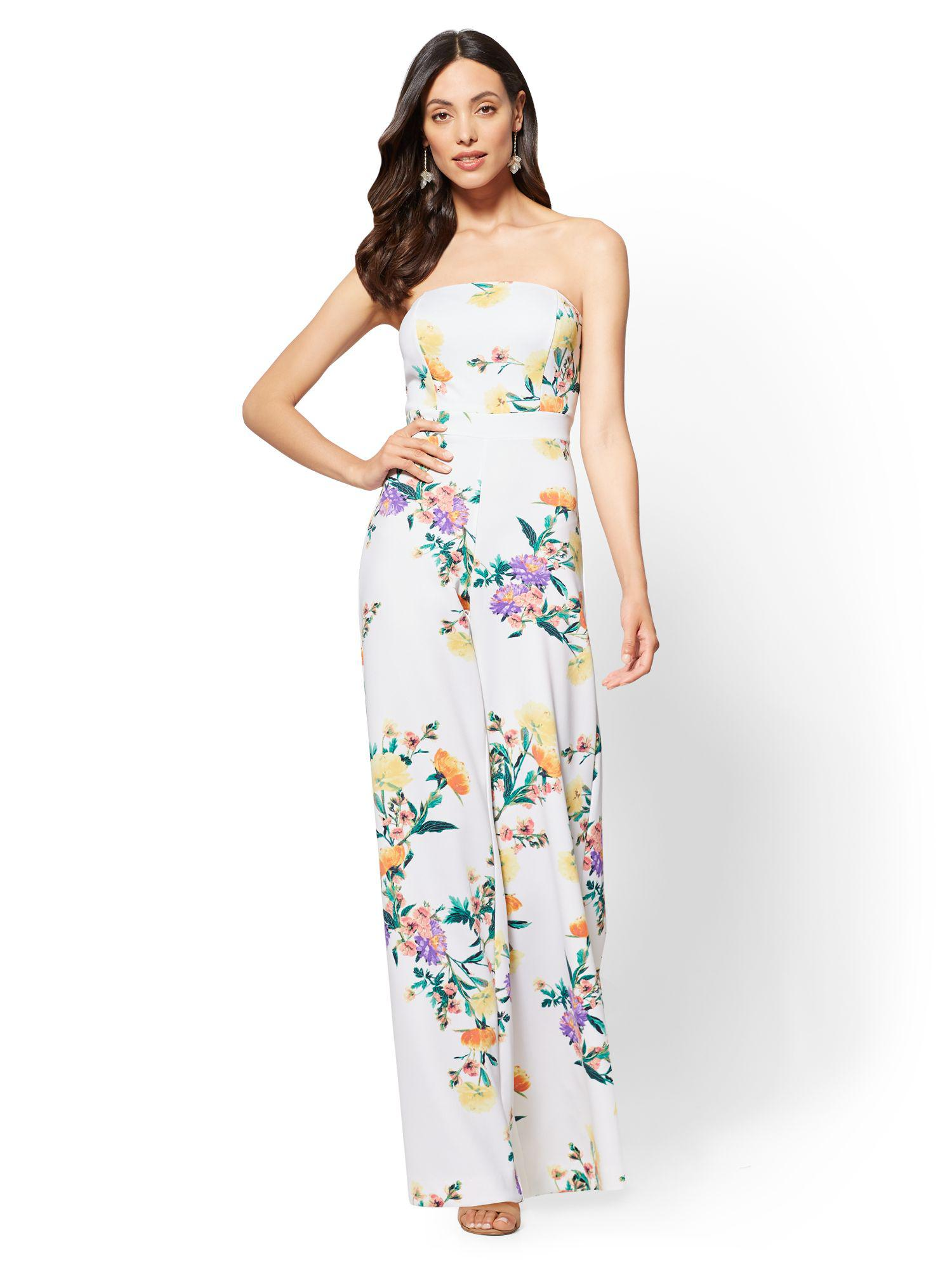 Lyst New York Company White Floral Strapless Jumpsuit In White