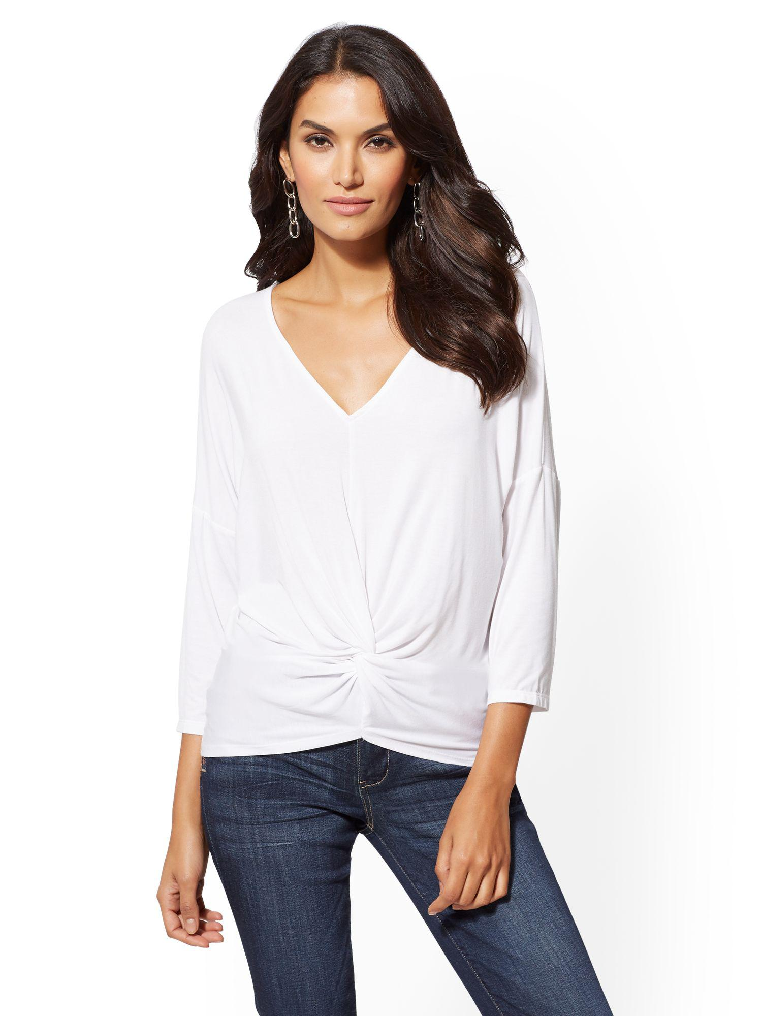 3c6800ac80421 Lyst - New York   Company Soho Soft Tee - V-neck Twist-front Top in ...