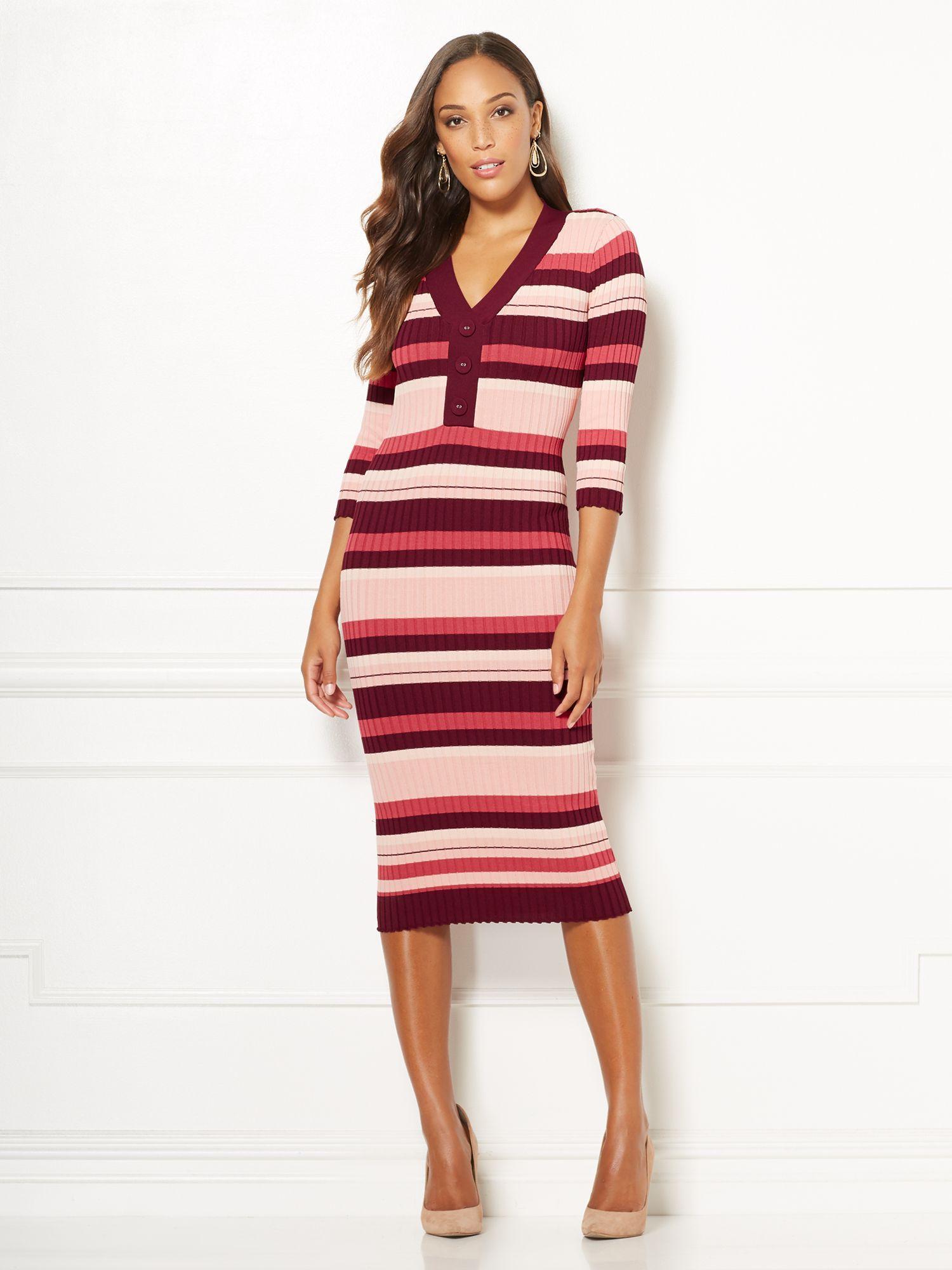 907969f317c Lyst - New York   Company Cherelle Stripe Sweater Dress - Eva Mendes ...