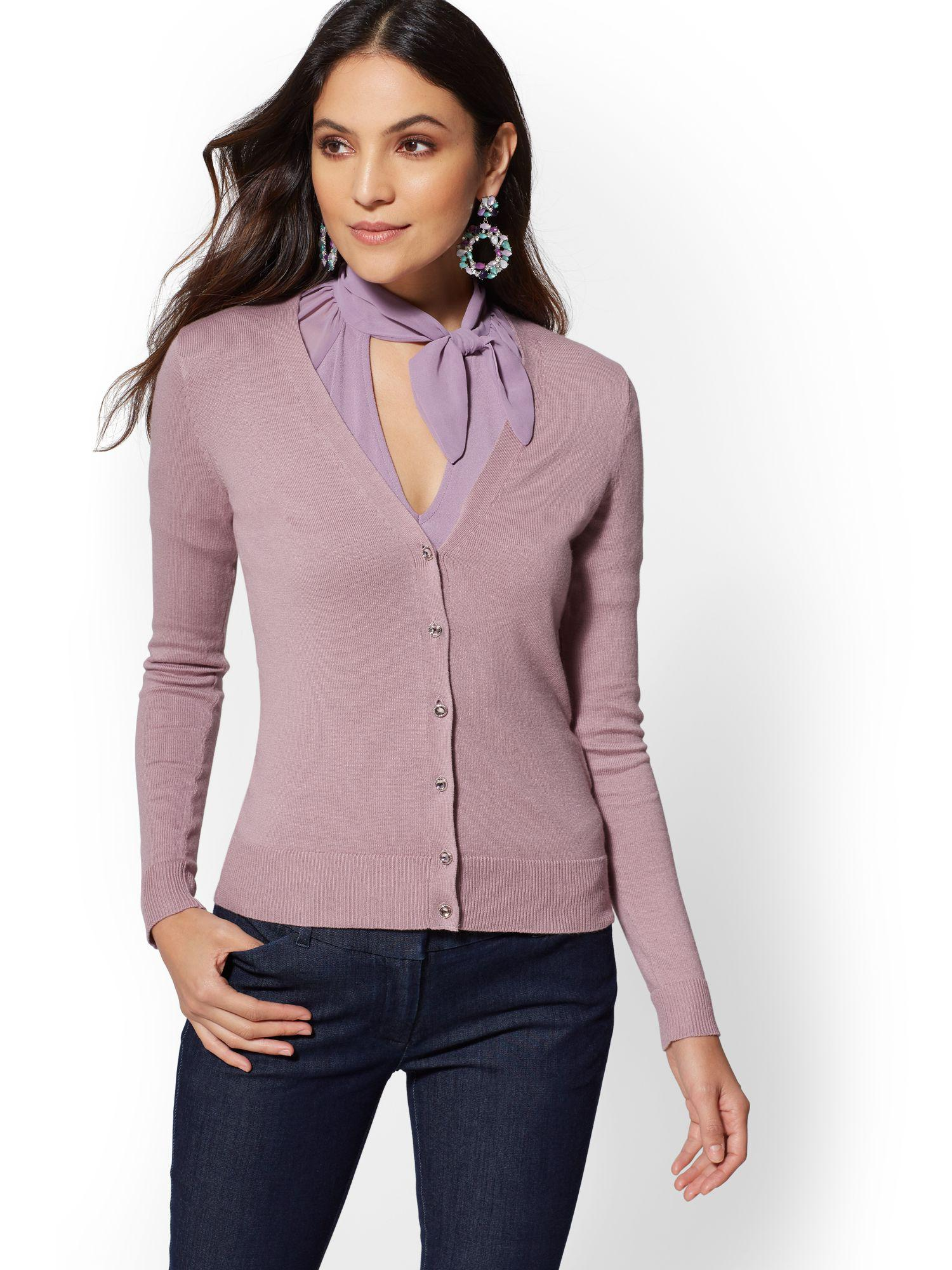 71d1f430ad0 New York & Company 7th Avenue - Tall Jeweled V-neck Chelsea Cardigan ...
