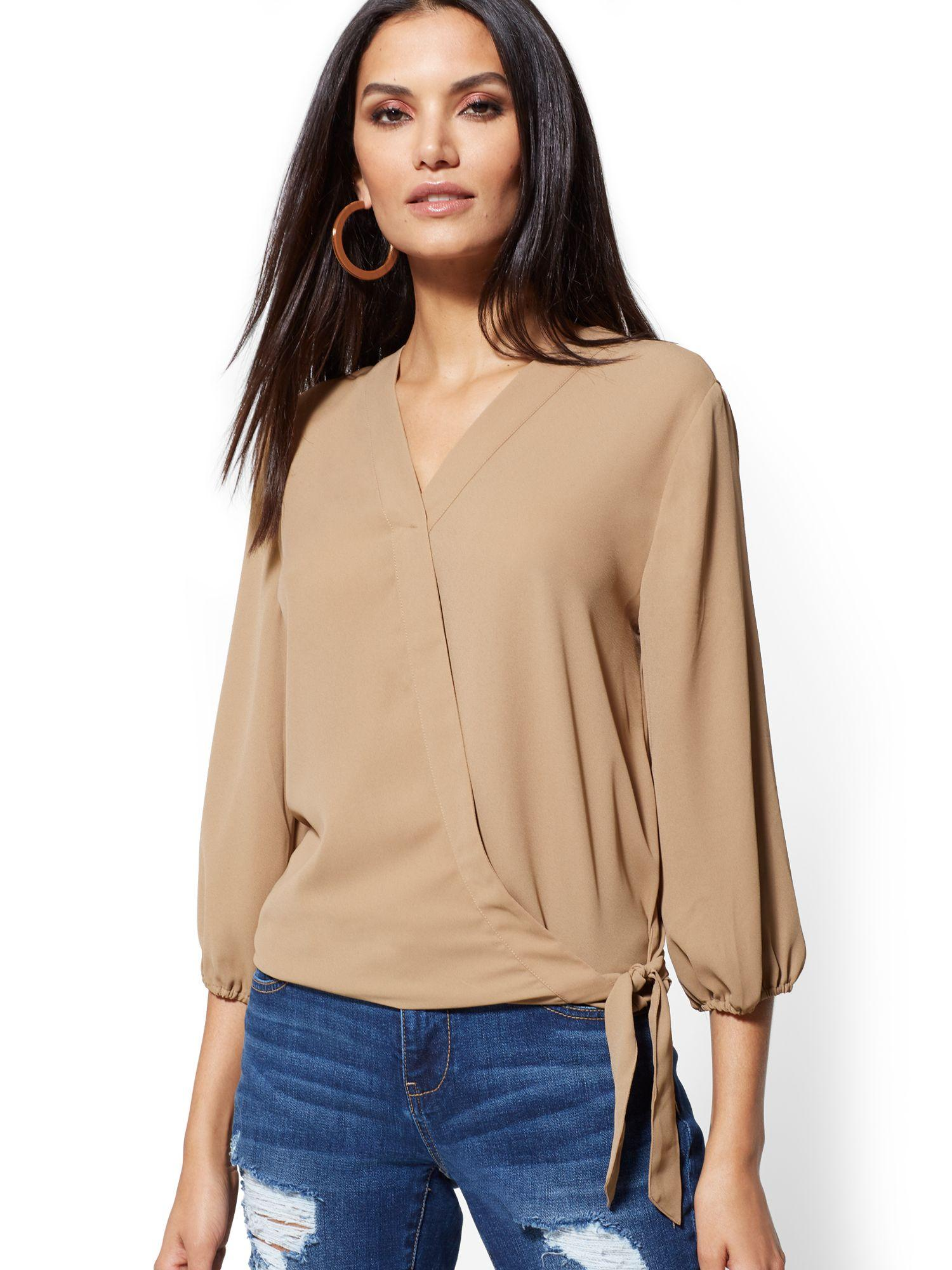 d6906741c5b New York   Company. Women s Natural Tie-front Wrap Blouse - Soho Soft Shirt