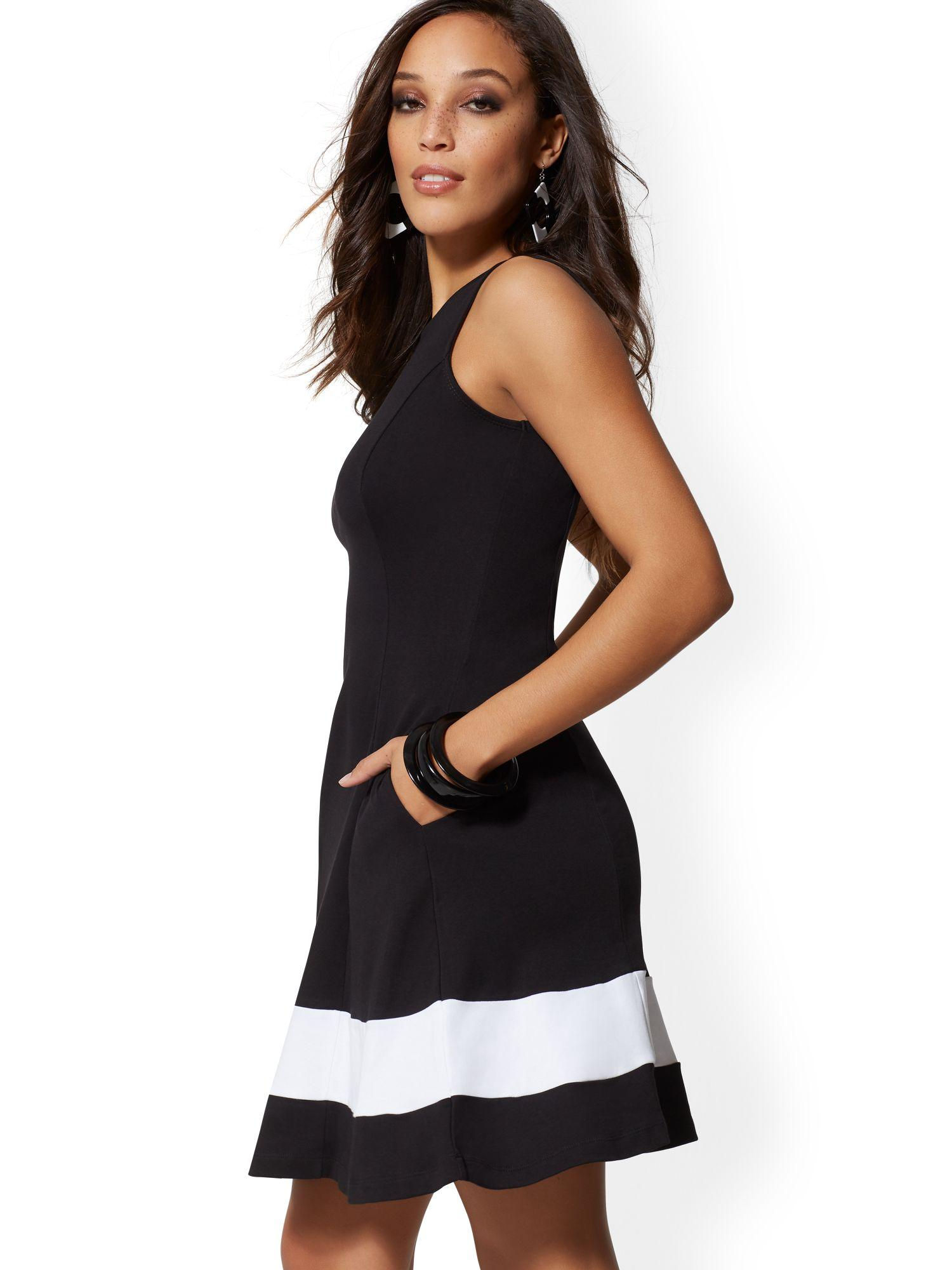974947059eb5 Lyst - New York   Company Colorblock Fit And Flare Cotton Dress in Black