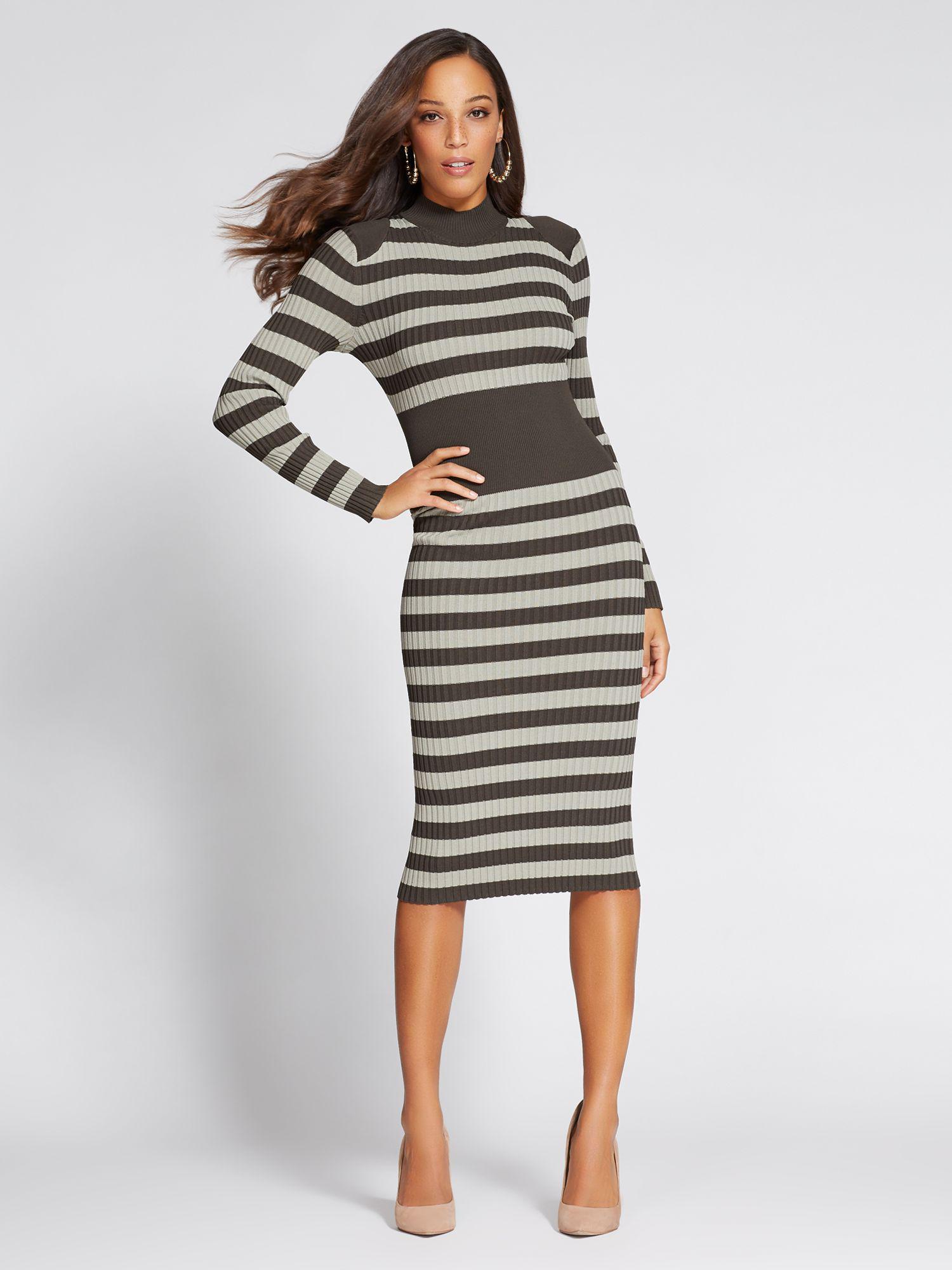 e33e1a31cfd New York & Company Black Gabrielle Union Collection - Mock-neck Sweater  Dress - Stripe