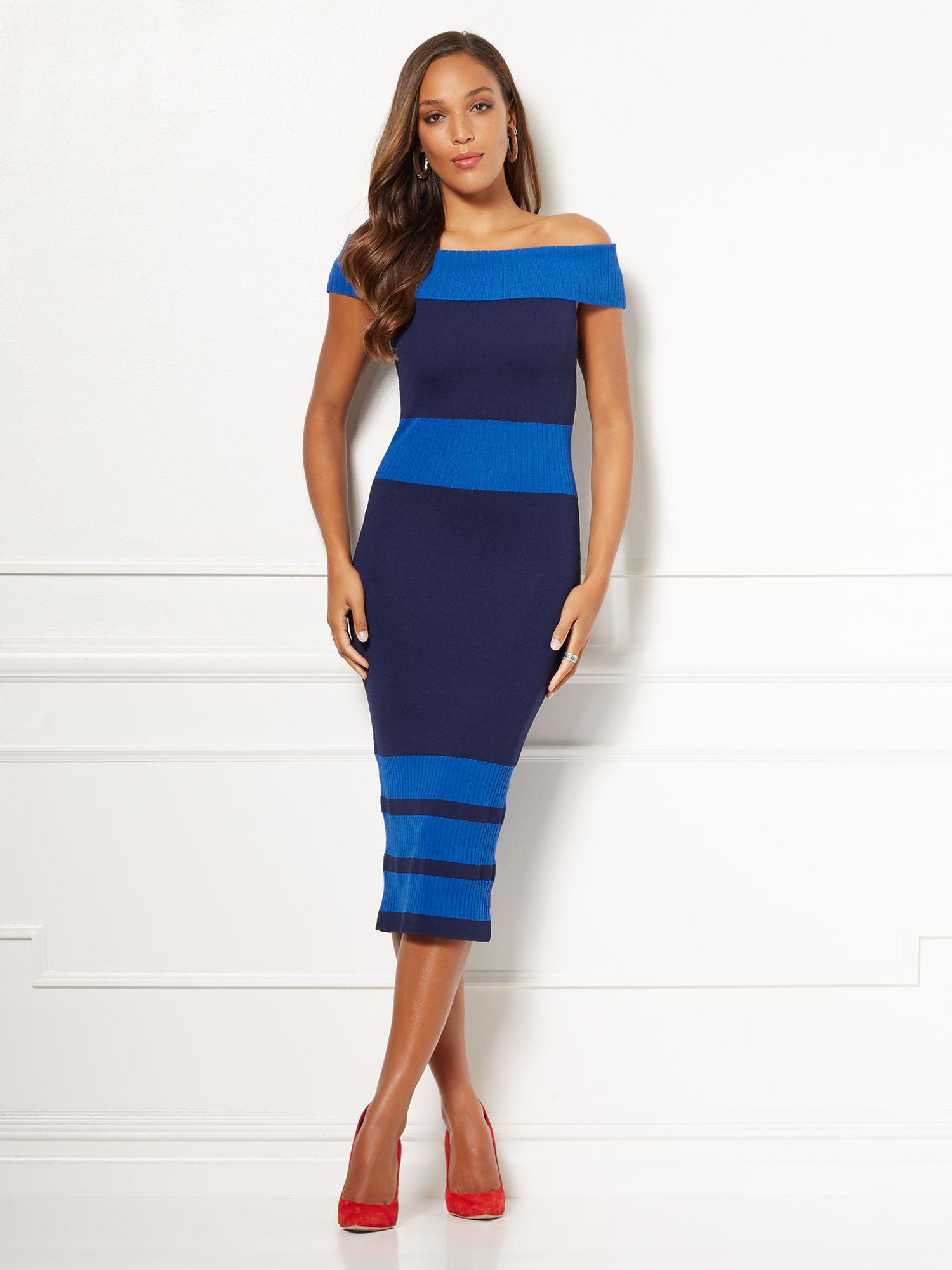 70f9a8ac9b1 New York   Company. Women s Blue Eva Mendes Collection - Chantelle Sweater  Dress
