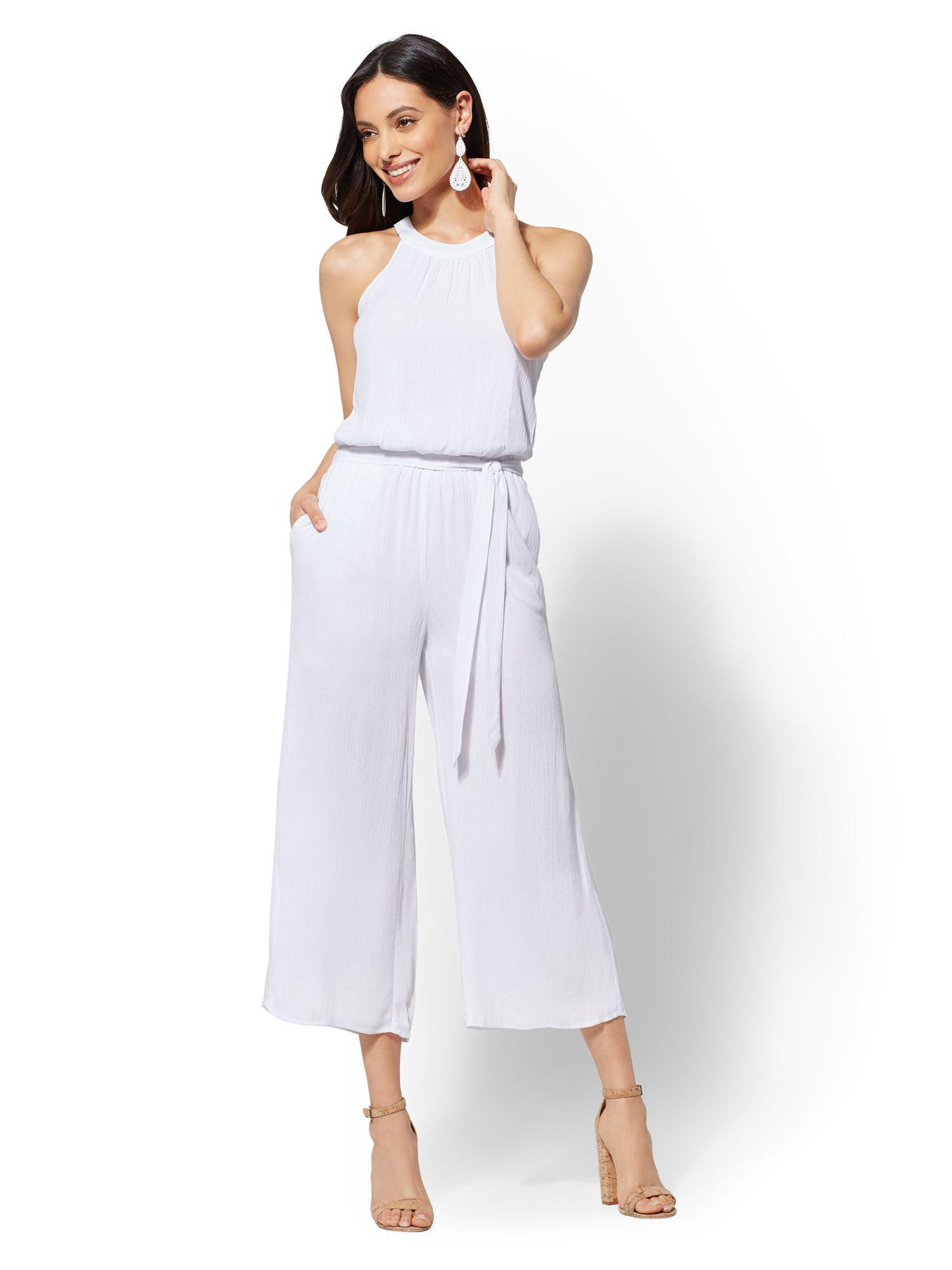 Lyst New York Company Tall White Halter Jumpsuit In White