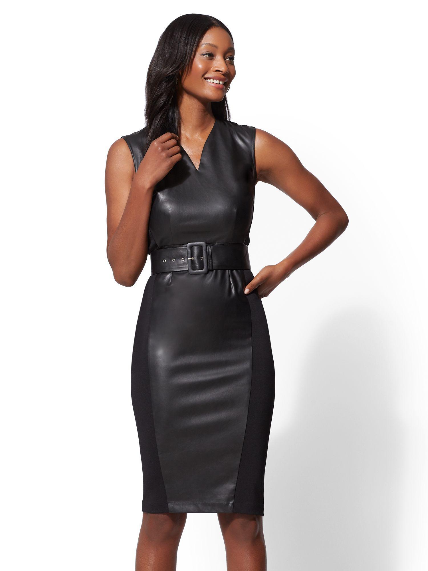 d89c1643bb Lyst - New York   Company 7th Avenue - Petite Faux-leather Sheath ...
