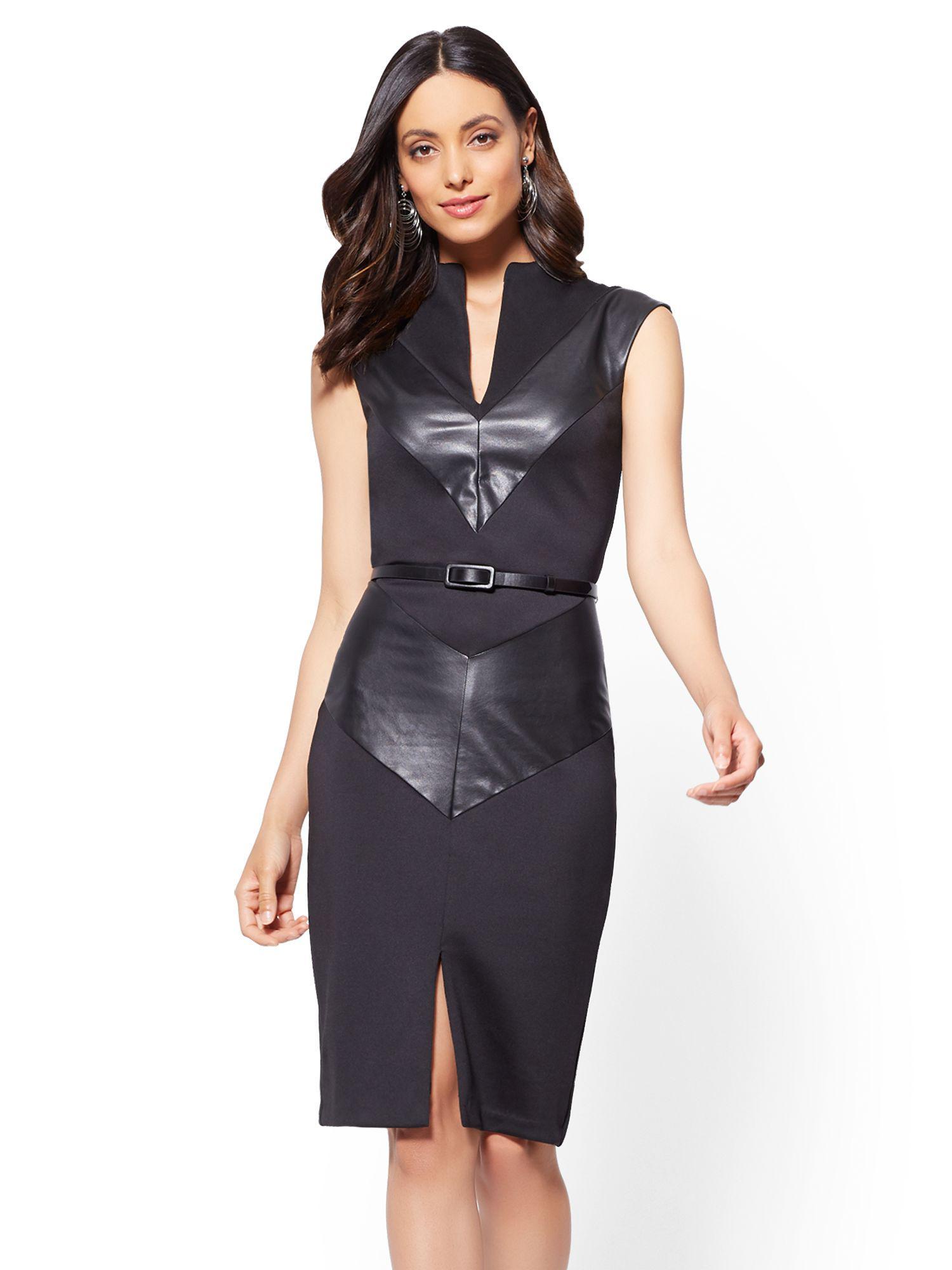 7be25893ac Lyst - New York   Company 7th Avenue - Faux-leather Chevron Sheath ...
