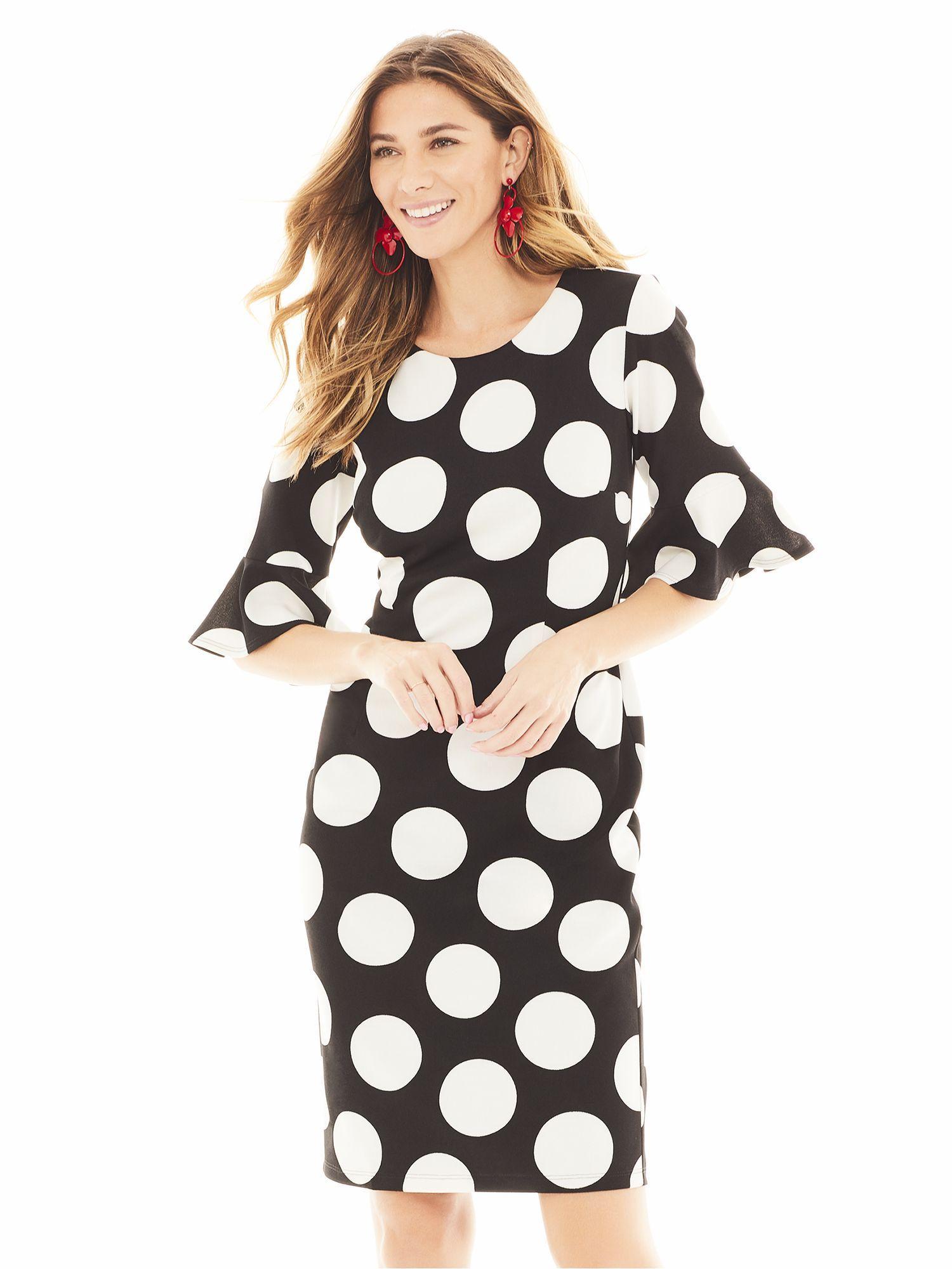 e8dd66fa New York & Company. Women's Black Dot-print Sheath Dress - Magic Crepe - 7th  Avenue