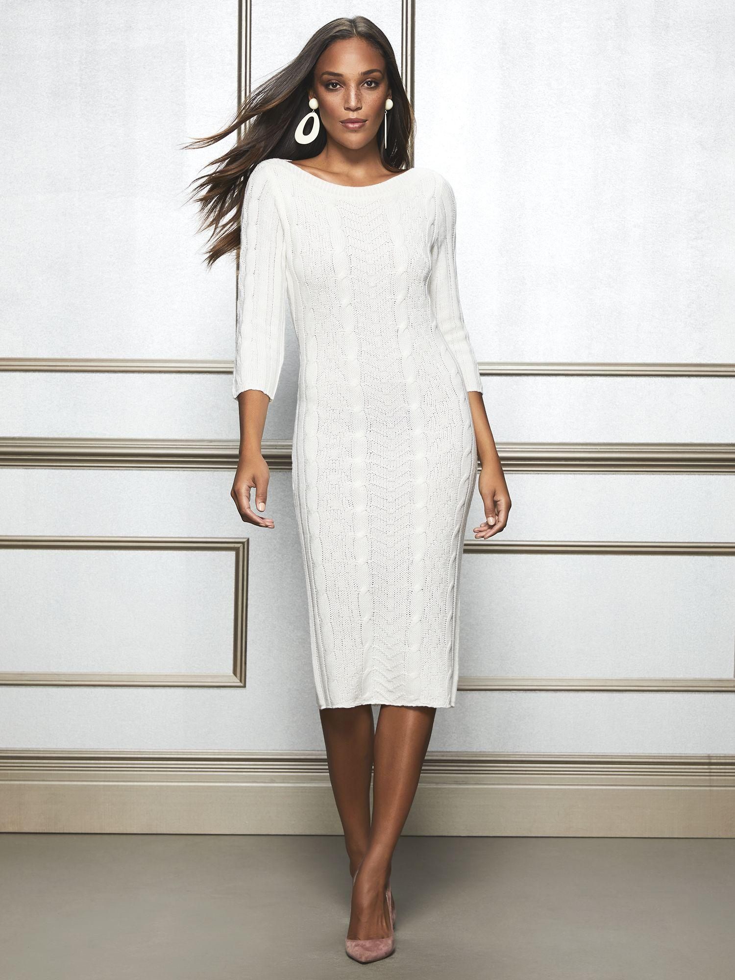 19cc64b71be9 Lyst New York Pany Calina Sweater Dress Eva Mendes. Long White Turtleneck  Sweater Dark Grey Pants Tall Black Boots Winter Snow Outfit
