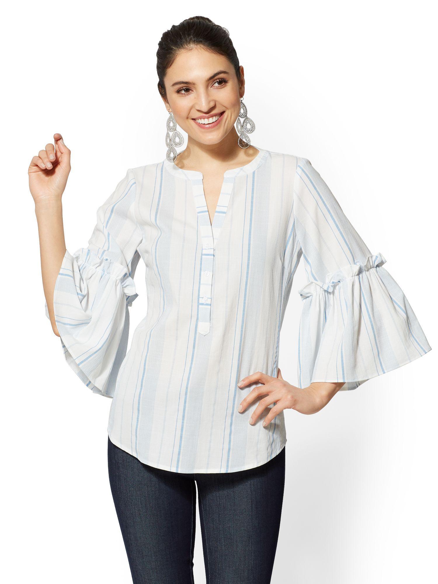 ce113fe01f New York & Company Striped Ruffled Popover Shirt - 7th Avenue in ...