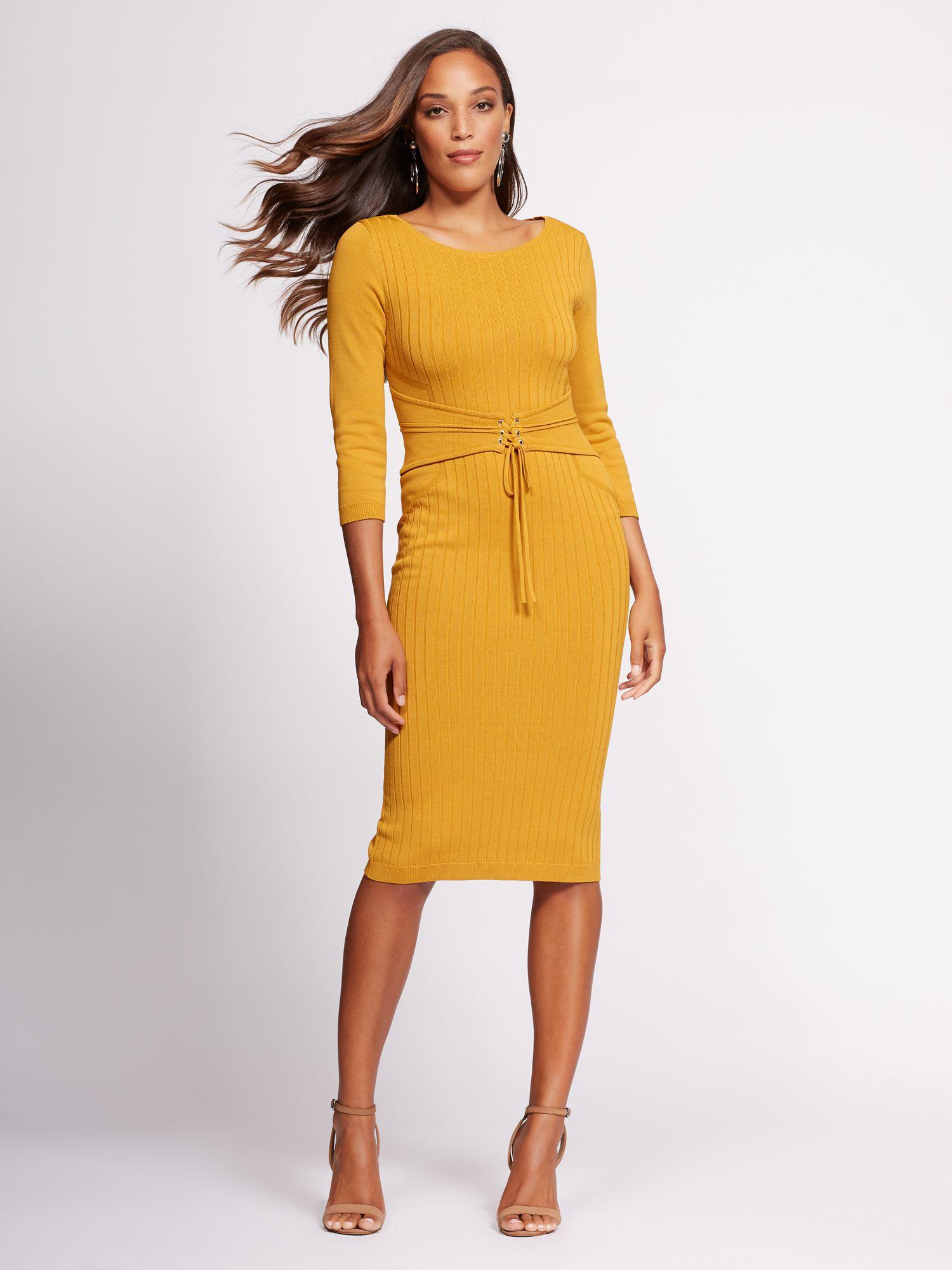 9b4c49cc New York & Company Gabrielle Union Collection - Corset Sweater Dress ...