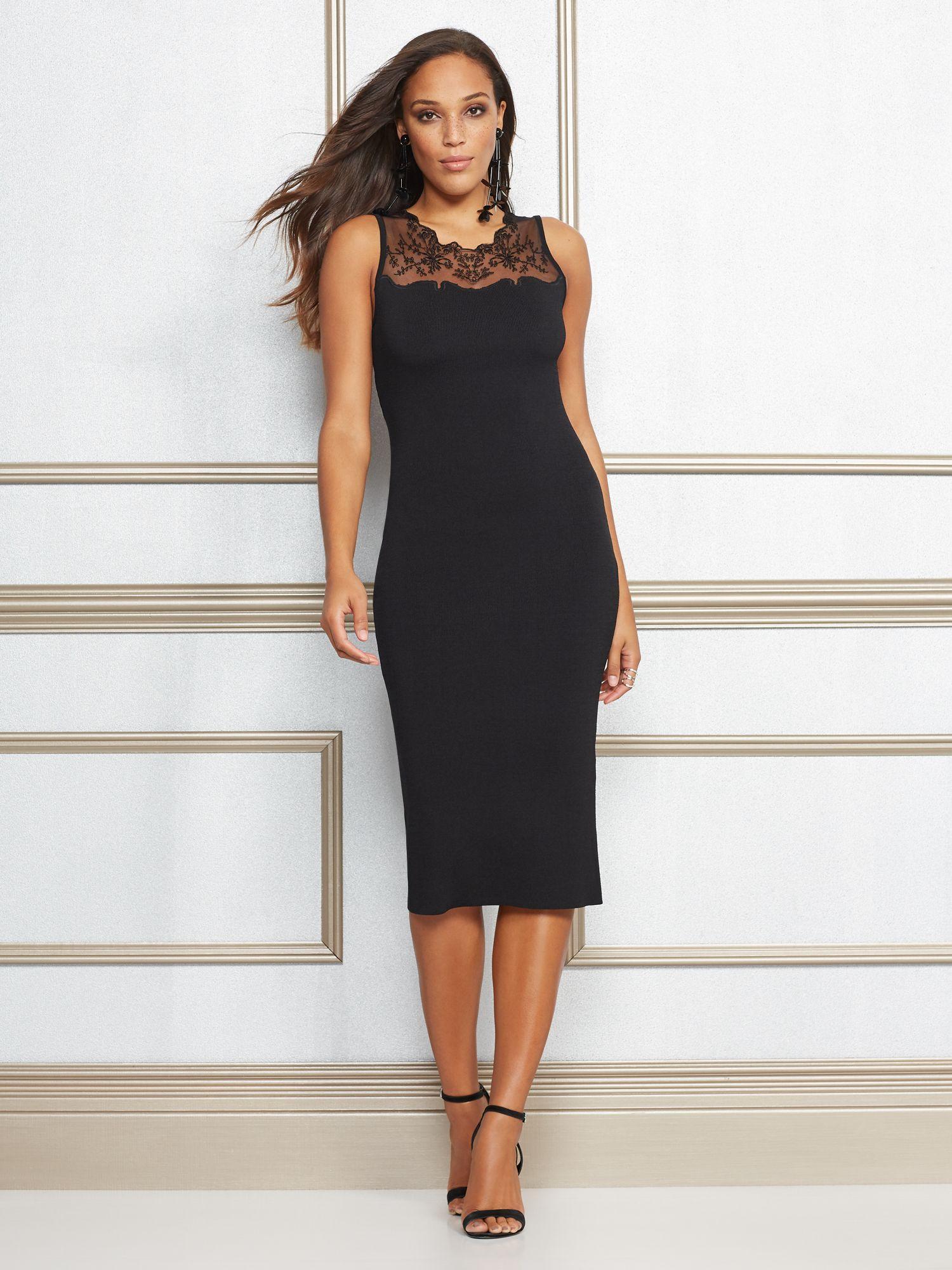 1de2a25f New York & Company. Women's Black Roxanne Lace-trim Sheath Dress ...
