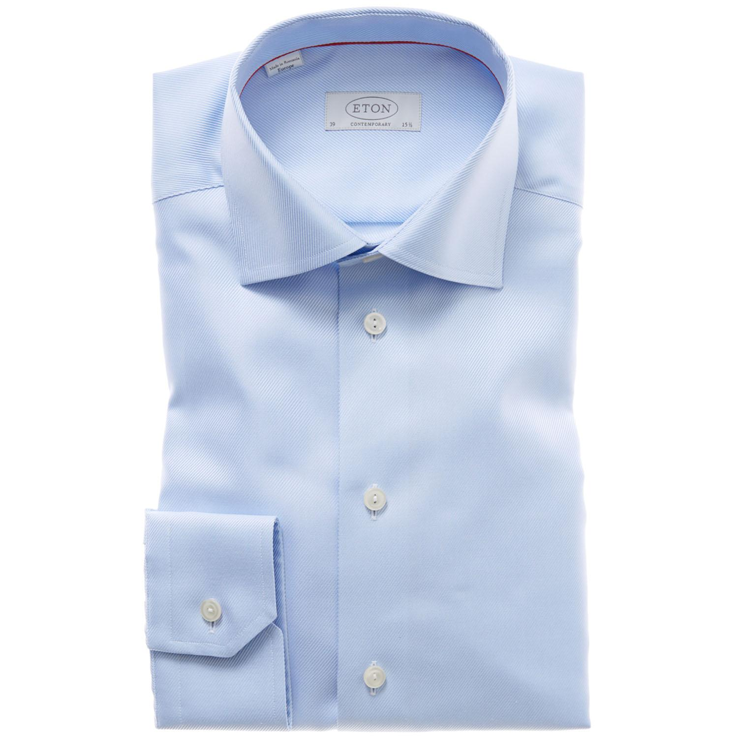 Eton of sweden wrinkle free twill dress shirt in blue for for How do wrinkle free shirts work