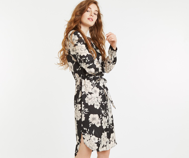52a55707a2a2 Oasis Bold Bloom Midi Shirt Dress in Black - Lyst