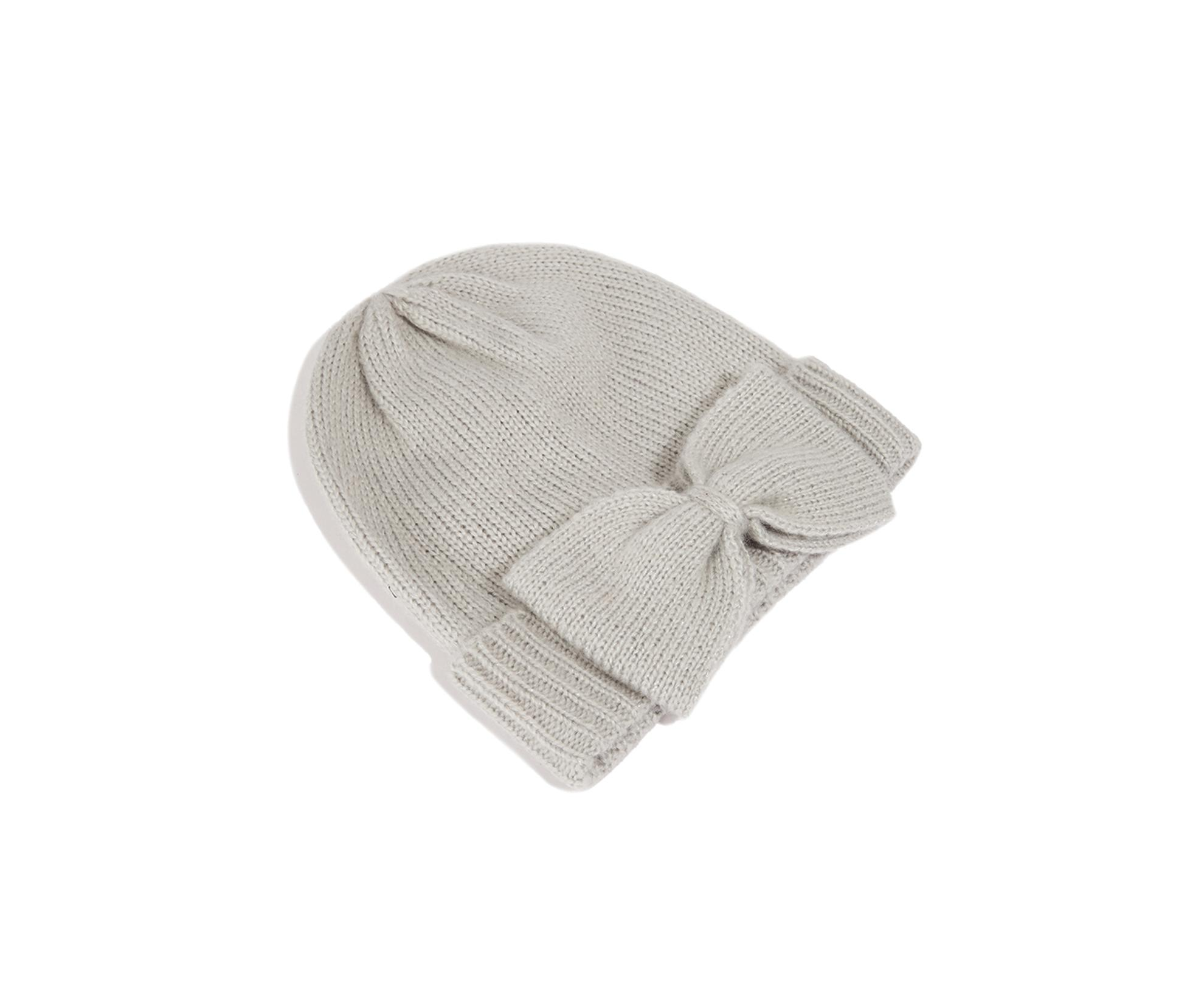 29328d84c41 Lyst - Oasis Bow Knitted Beanie Hat in Gray