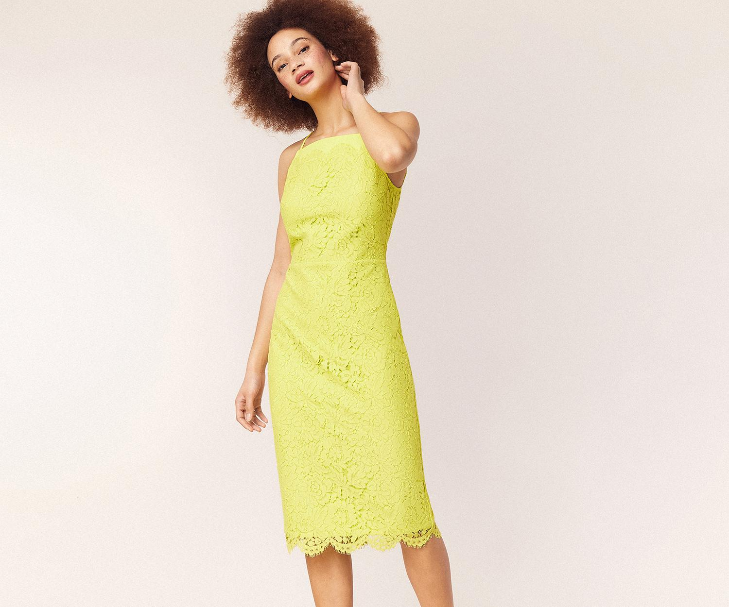 a7b377d5ba9804 Oasis Lace Square Neck Midi Dress in Yellow - Save 20% - Lyst