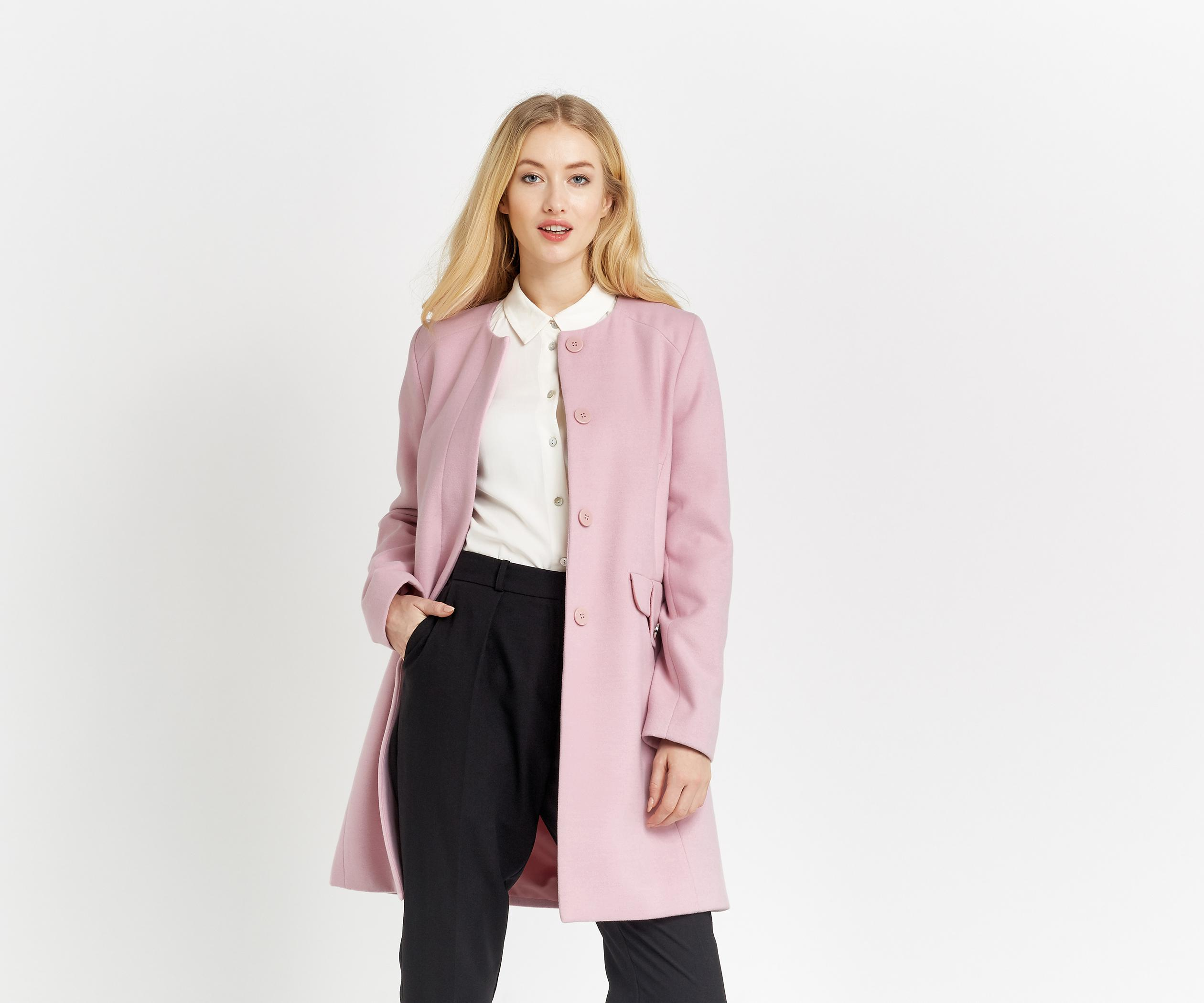 aa2c907573bd Oasis Collarless Coat in Pink - Lyst