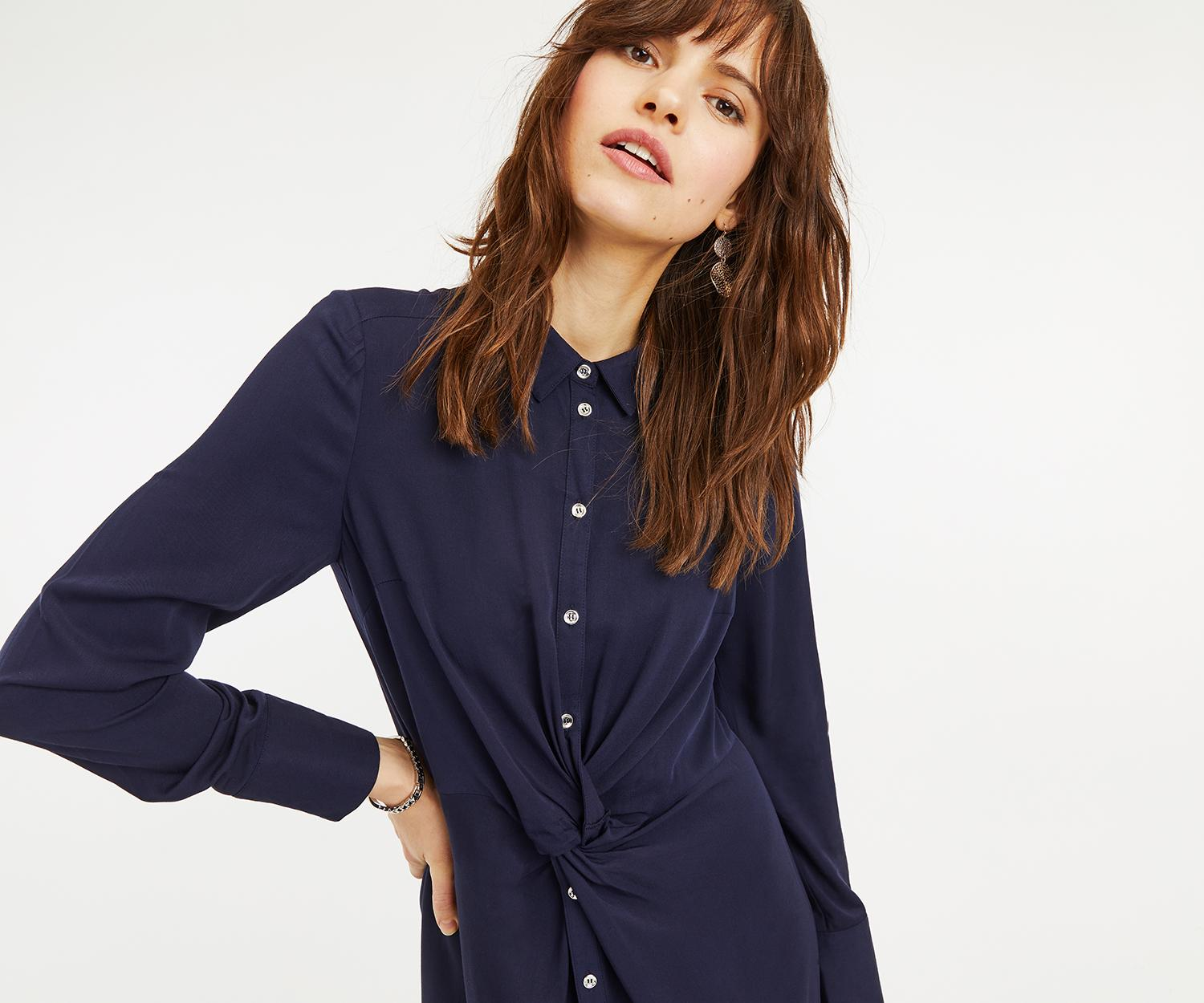 587a31ab9d42 Oasis Twist Front Shirt Dress in Blue - Lyst