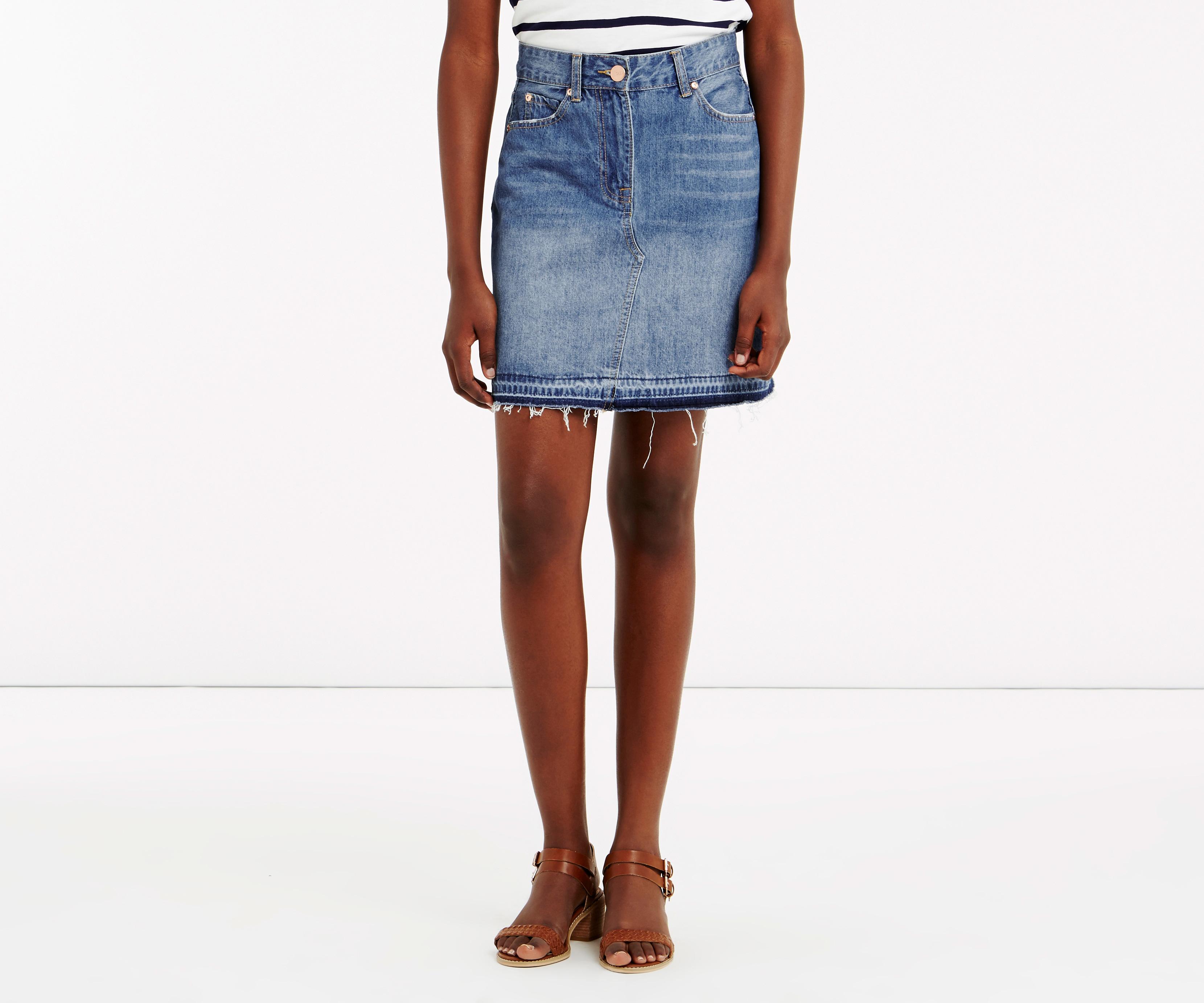 oasis denim mini skirt in blue lyst