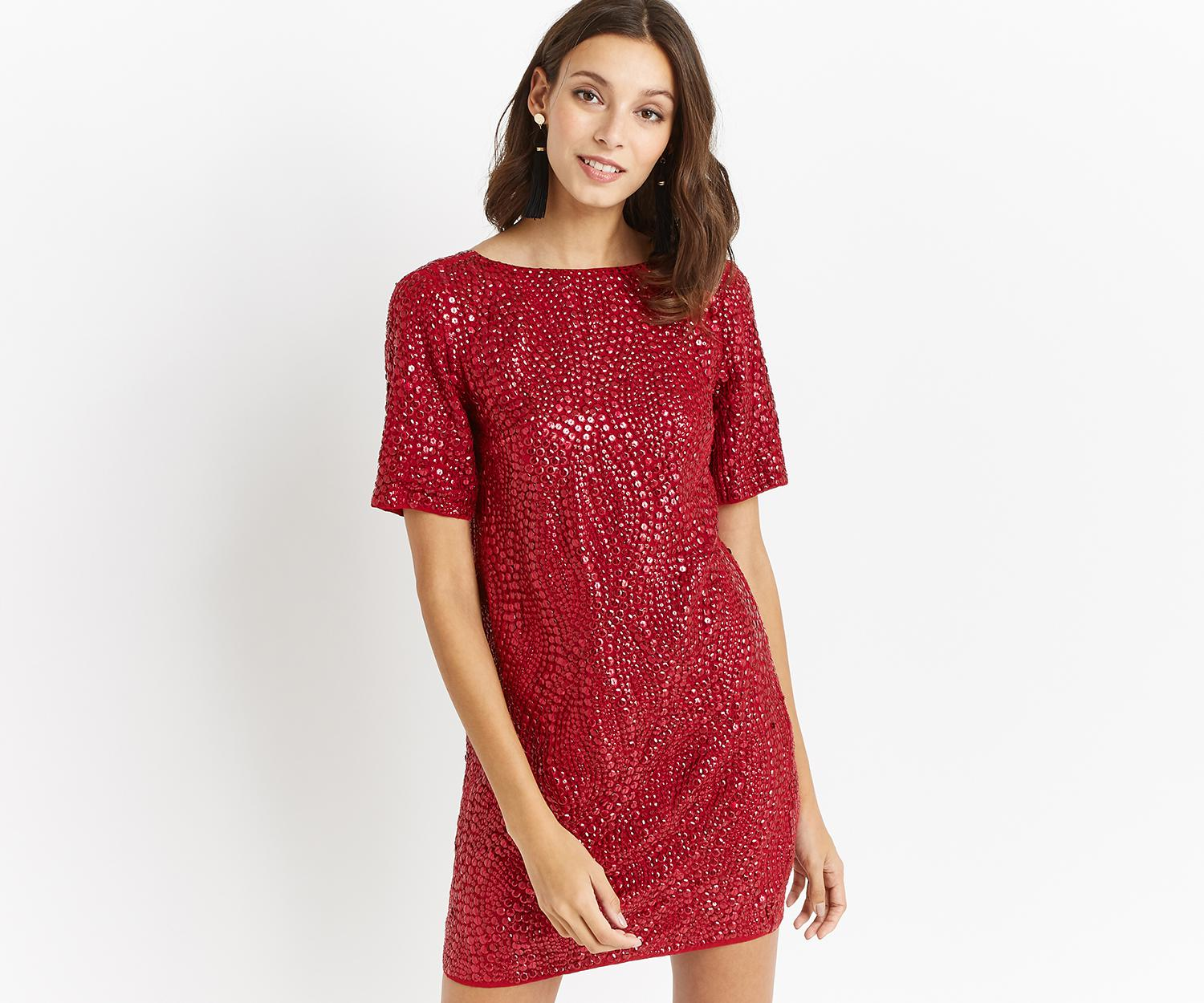 cafd1841507852 Oasis Red Embellished Shift Dress - The Best Style Dress In 2018