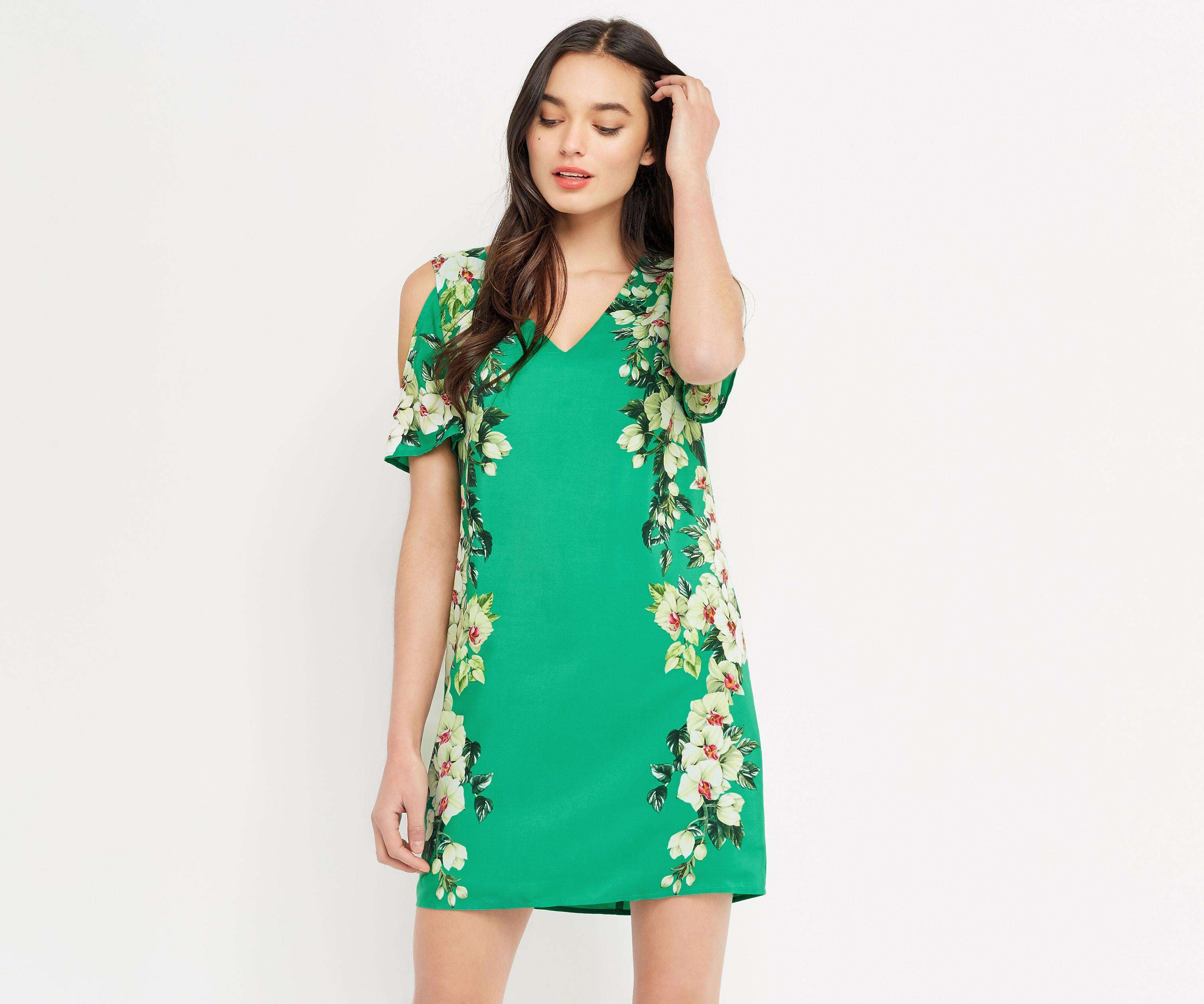 Lyst - Oasis Tropical Cold Shoulder Dress in Green