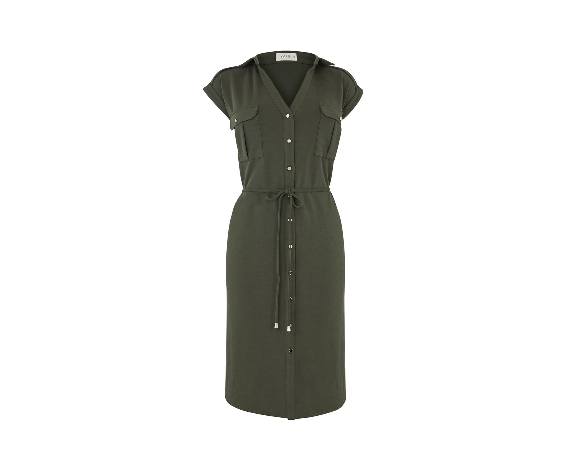 b312186c2cae Oasis Cupro Shirt Dress in Green - Lyst