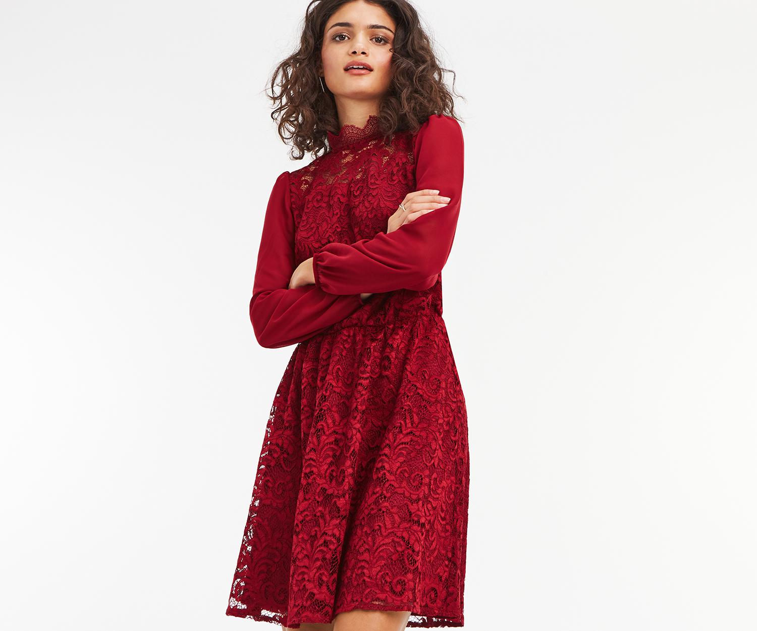 701fc29e936f Oasis Lace & Sheer Skater Dress in Red - Lyst