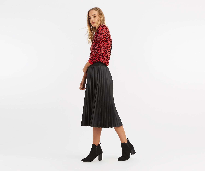 5b161c8b45c Oasis Faux Leather Midi Skirt in Black - Lyst