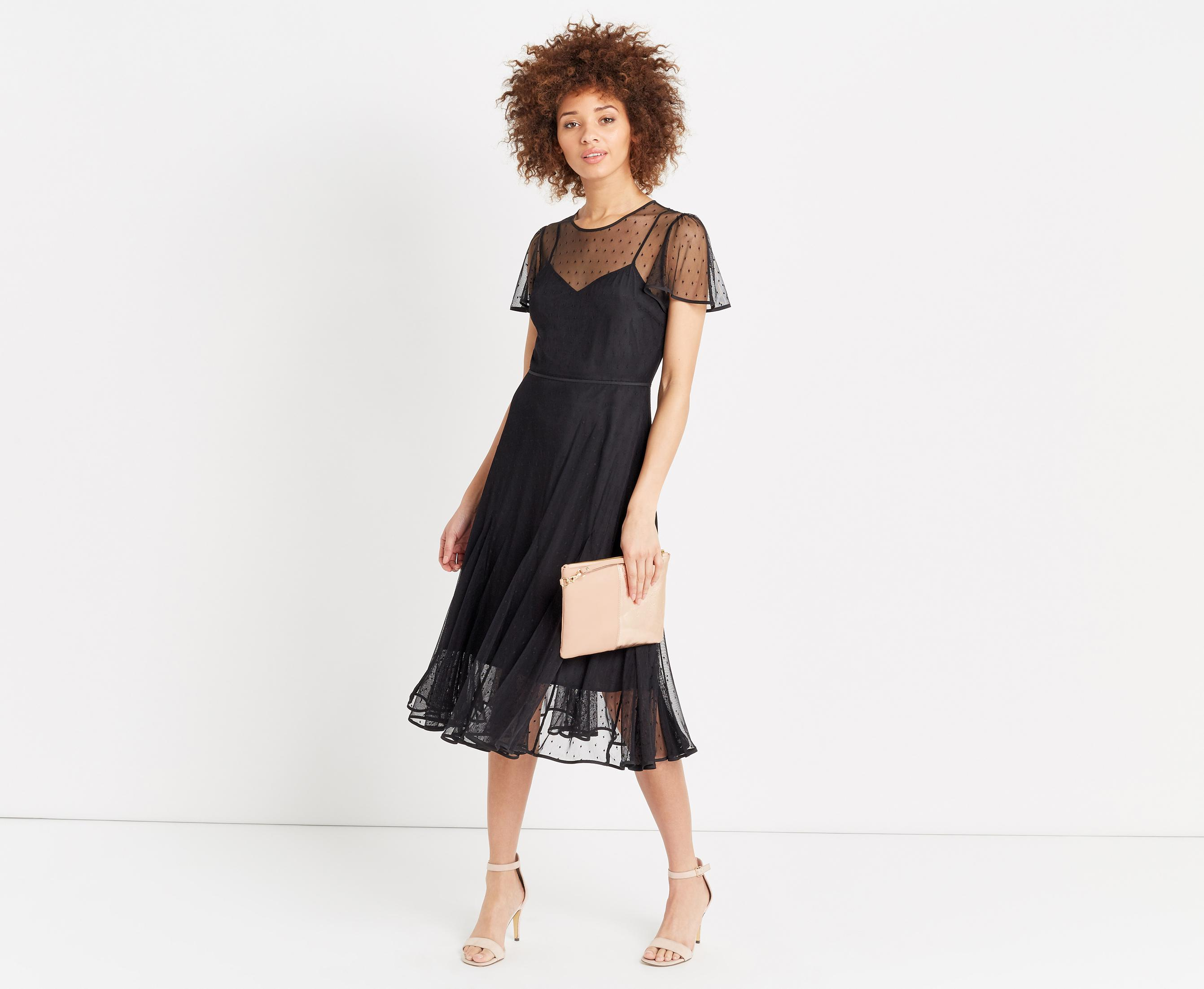 601fc1292374 Oasis Spot Mesh Midi Dress in Black - Lyst