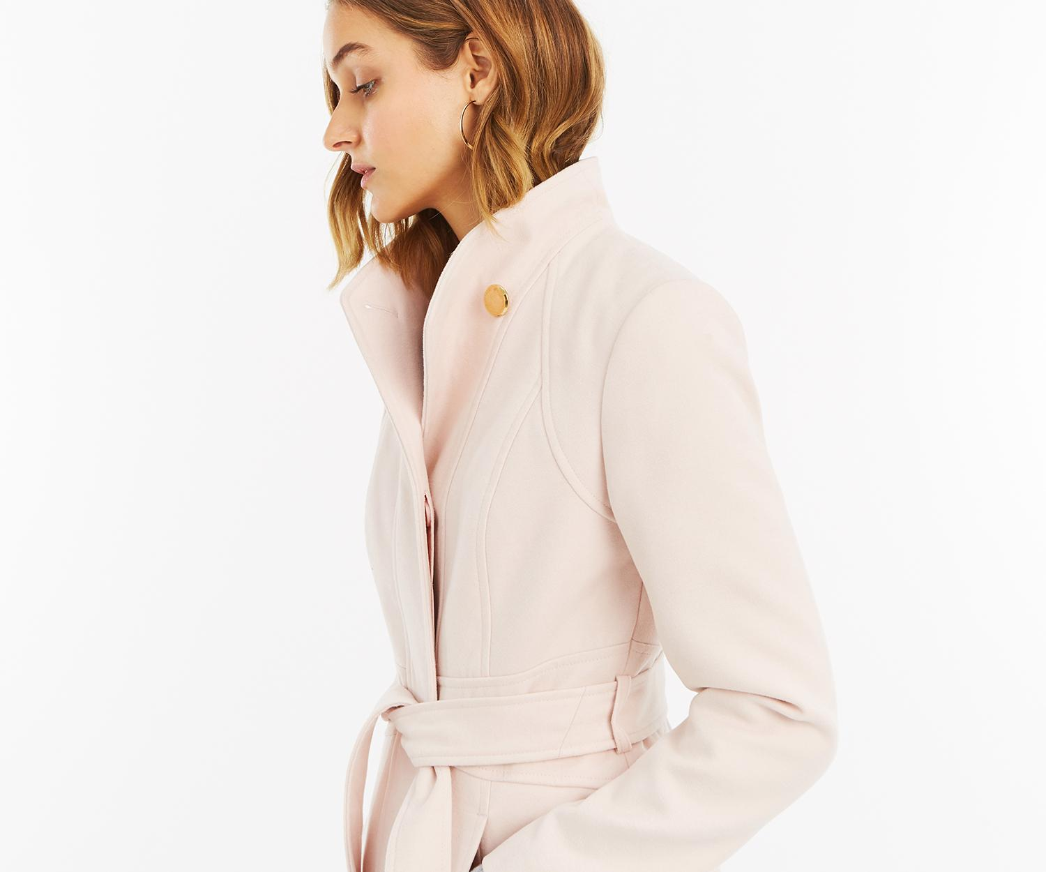 47f9c44eaf71 Oasis Hazel Panel Fitted Coat in Pink - Lyst