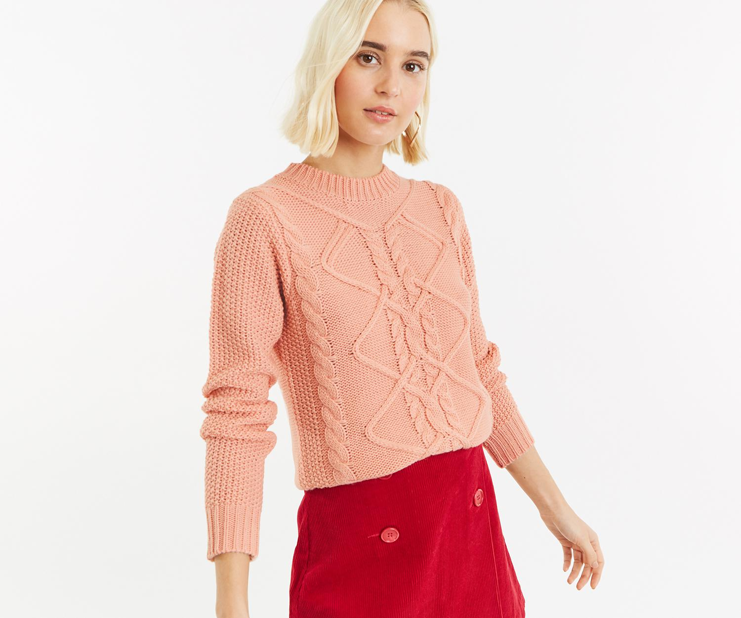 b2b611b1feeb Oasis Nyla Cable Jumper in Pink - Lyst