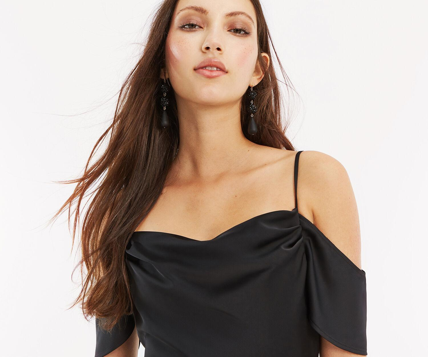 Cowl Neckline Wedding Gowns: Oasis Synthetic Cowl Neck Bridesmaid Dress In Black