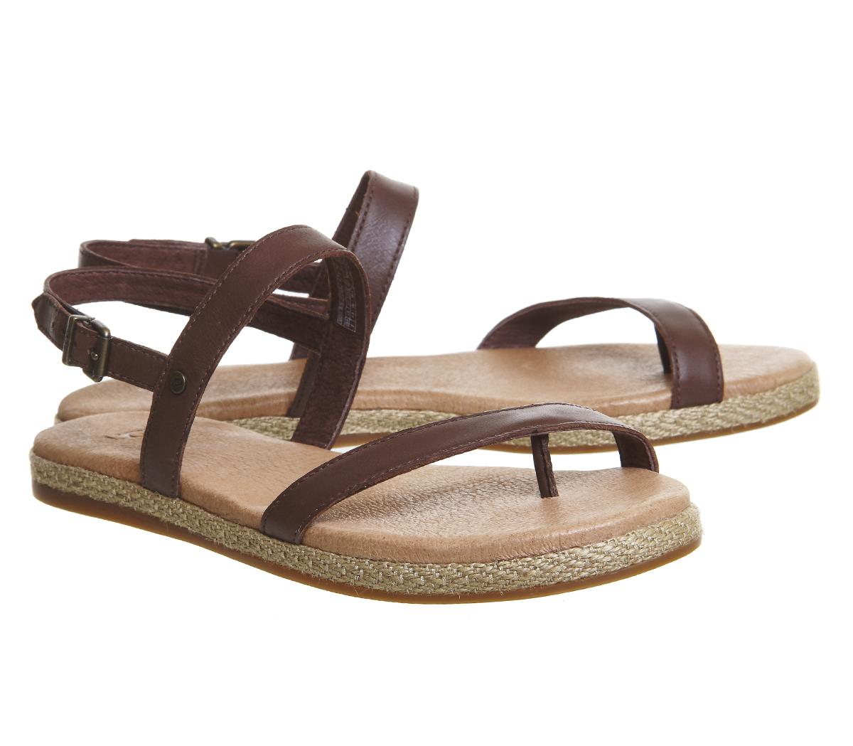 Ugg Leather Brylee Sandals In Chocolate Brown Lyst