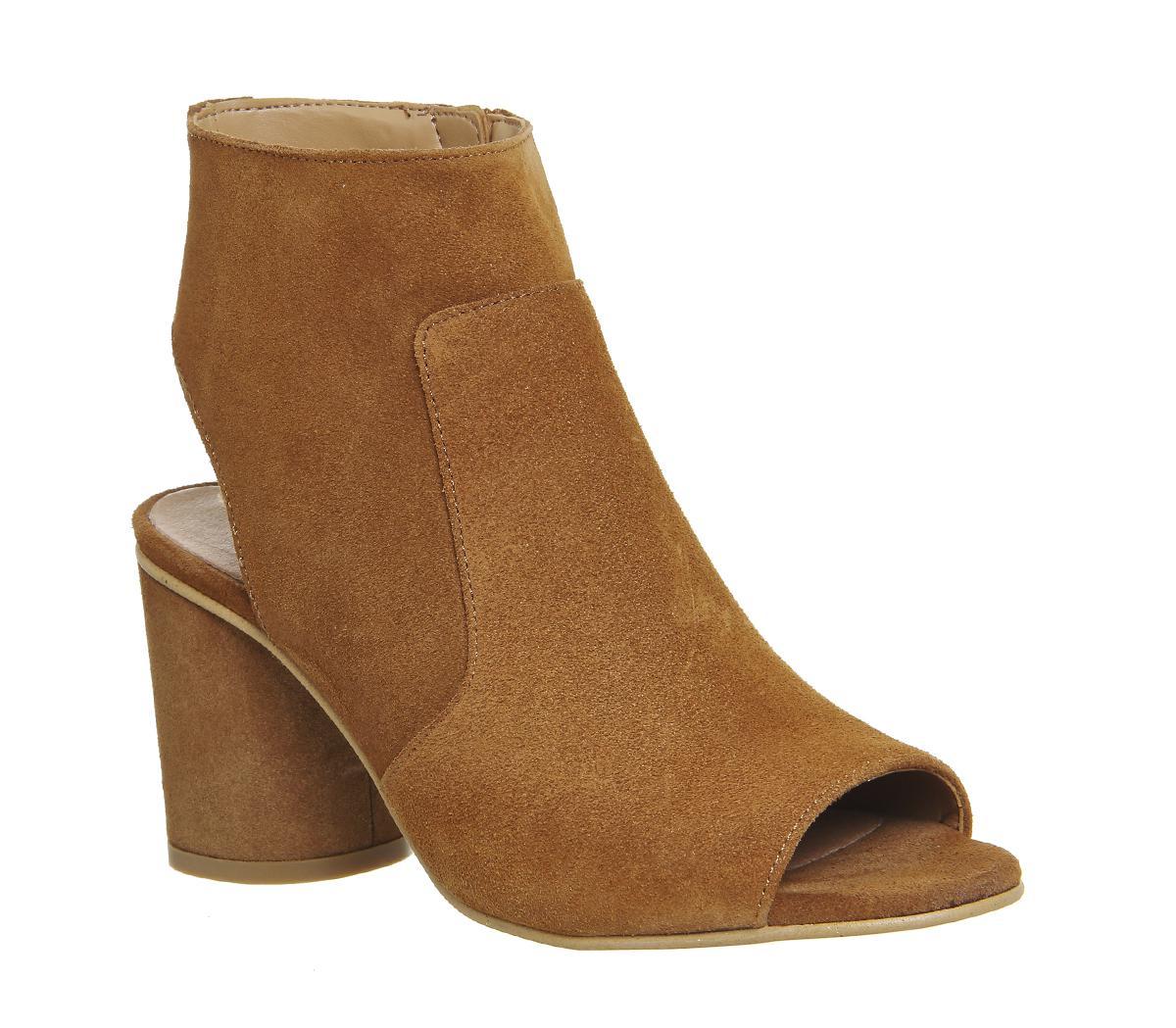 Tan Shoe Boots Peep Toe
